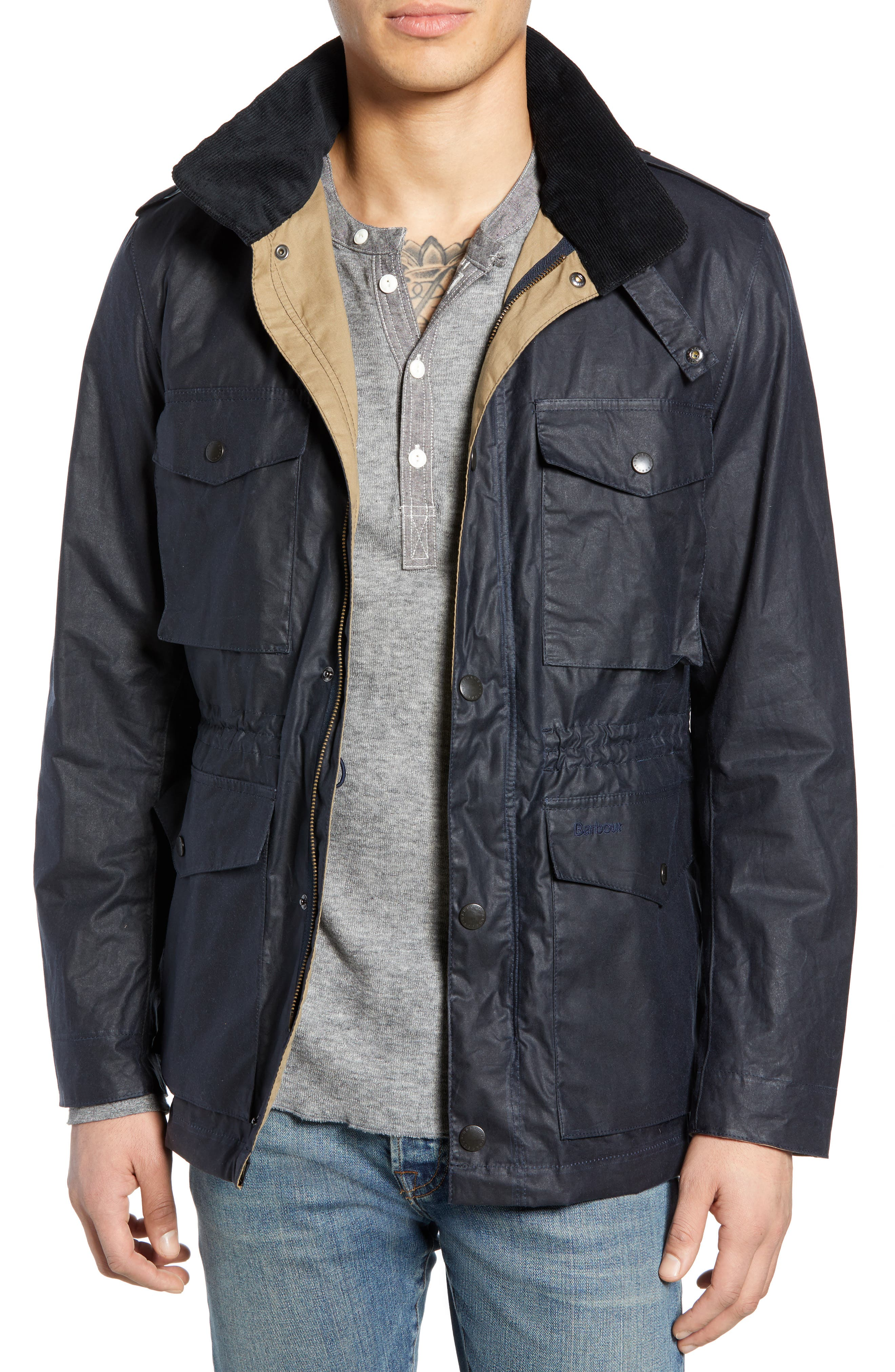 Barbour Orel Water Resistant Waxed Cotton Jacket, Blue