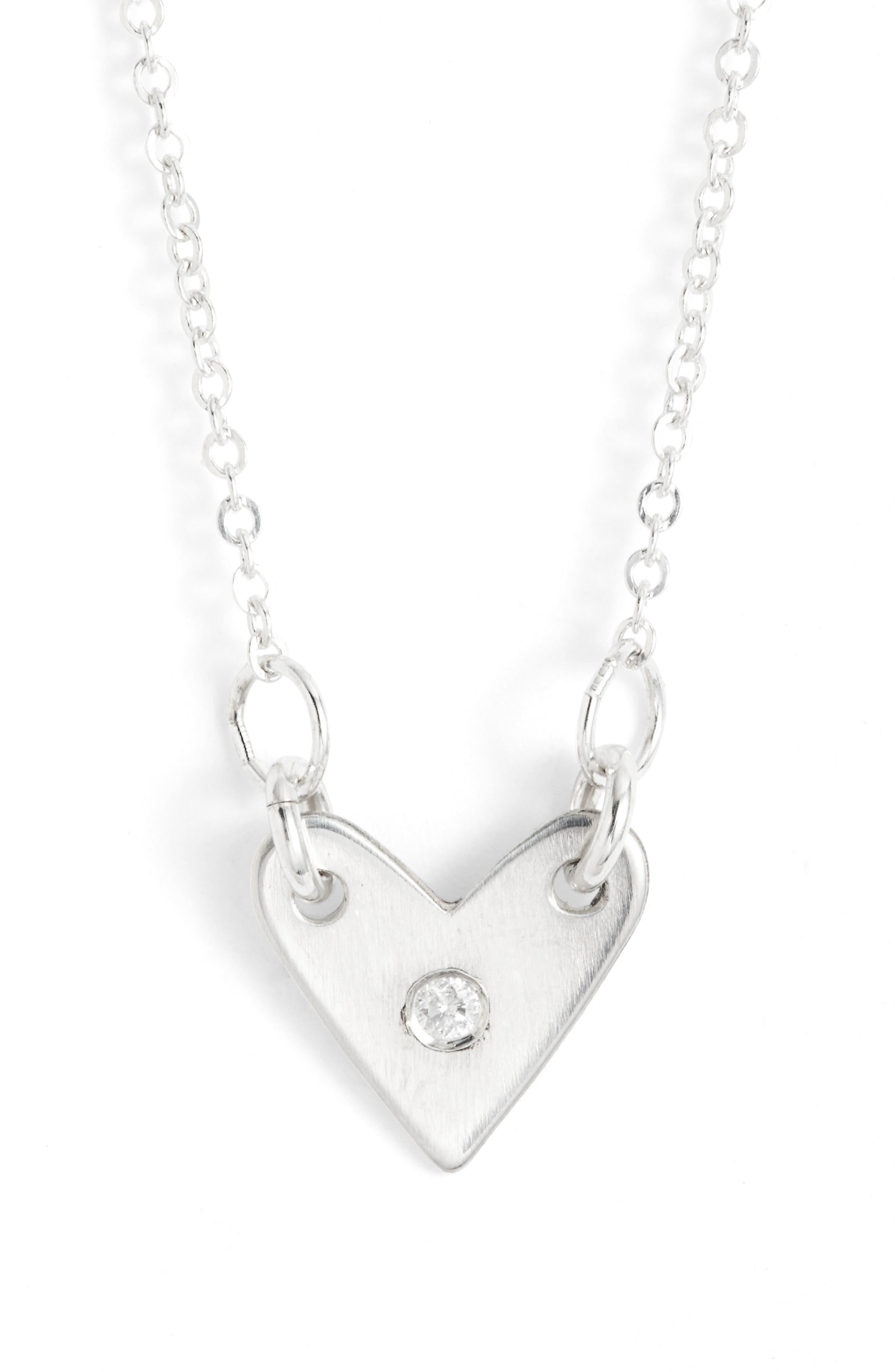 Diamond Heart Necklace,                         Main,                         color, 040