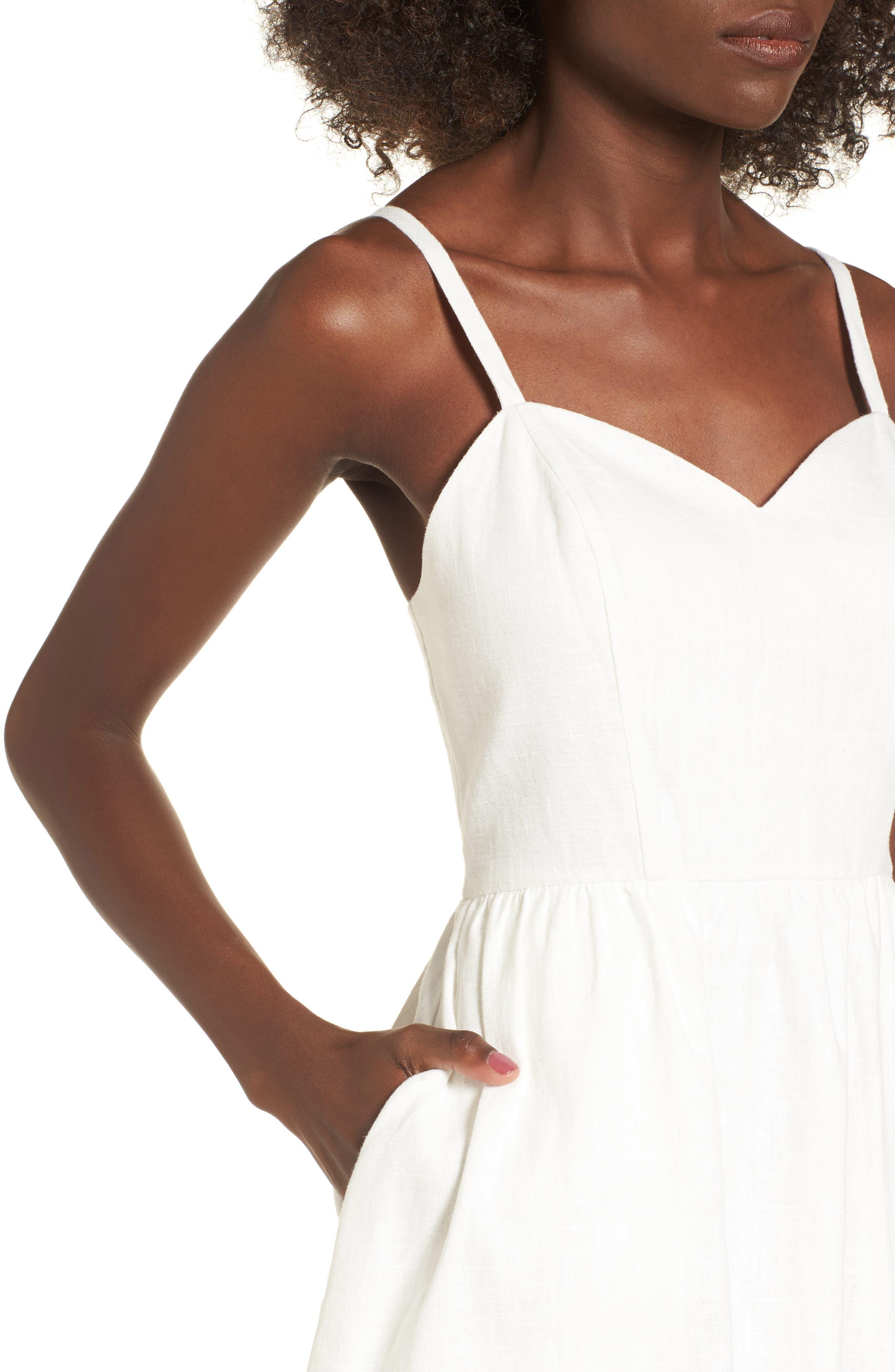 Cotton & Linen Ballerina Midi Dress,                             Alternate thumbnail 4, color,                             WHITE