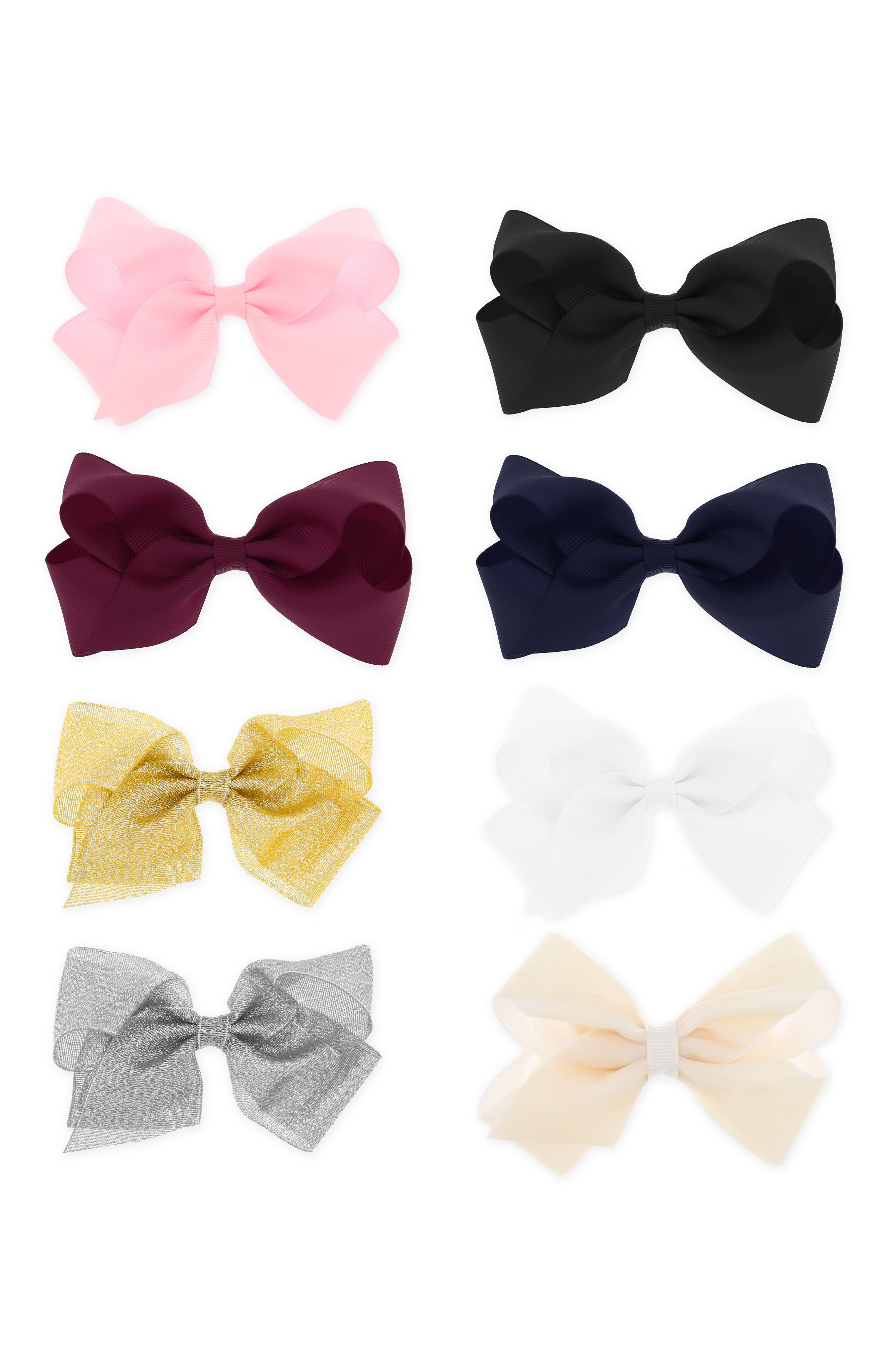 8-Pack Bow Hair Clip Set,                         Main,                         color, 650