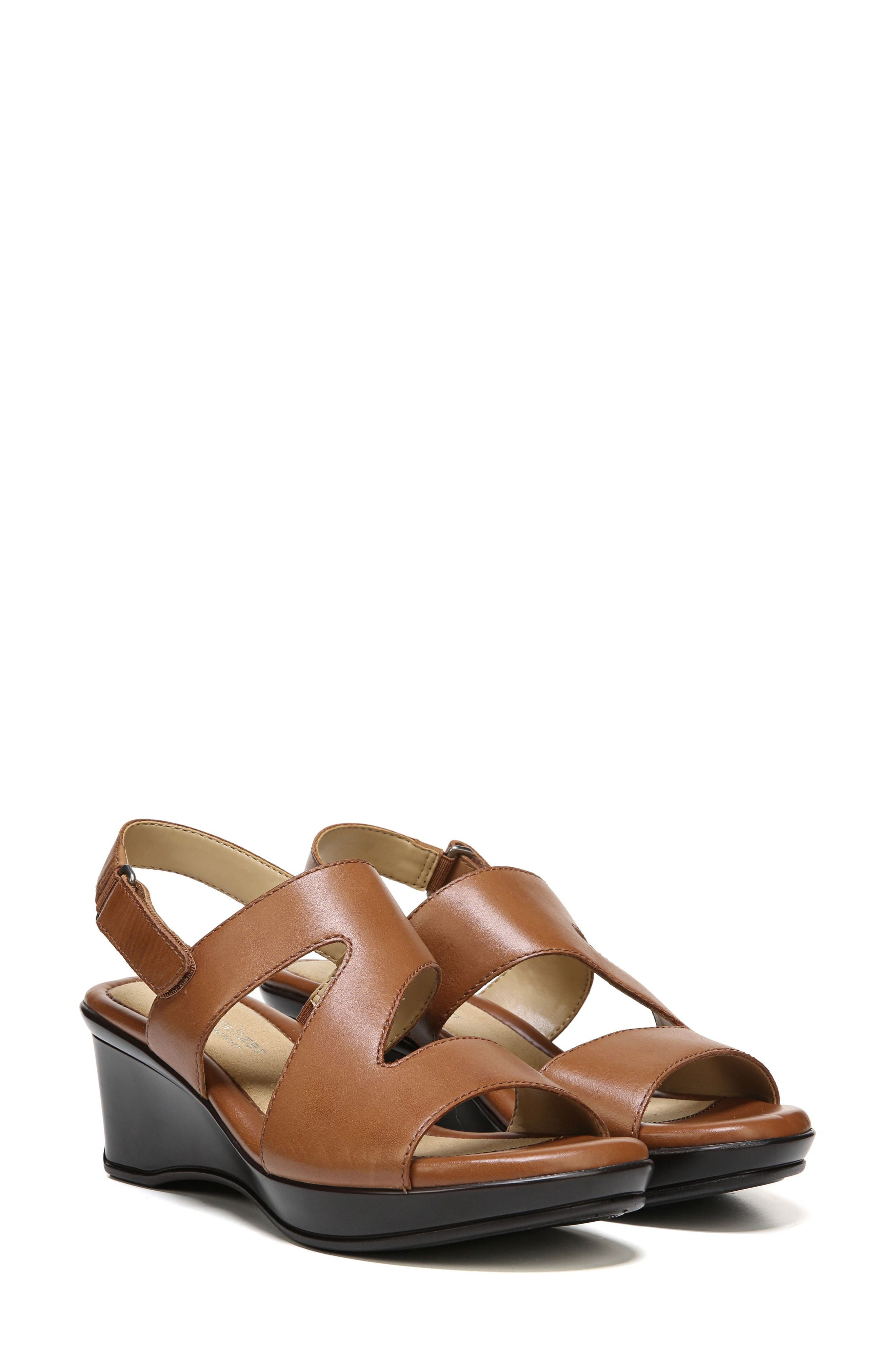 Valerie Wedge Sandal,                             Main thumbnail 1, color,                             SADDLE LEATHER