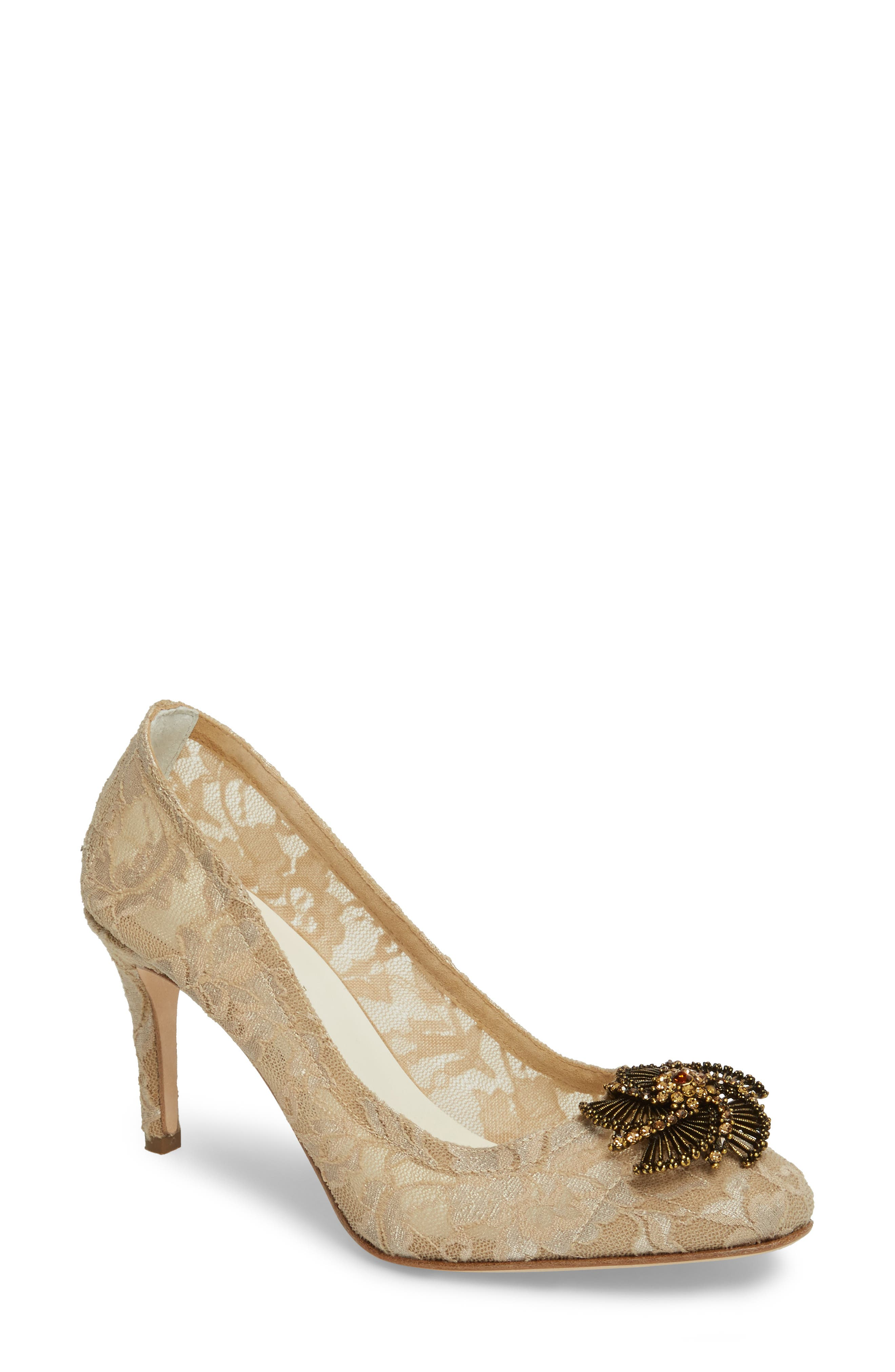 Valerie Embellished Pump,                             Main thumbnail 1, color,                             TAUPE LACE