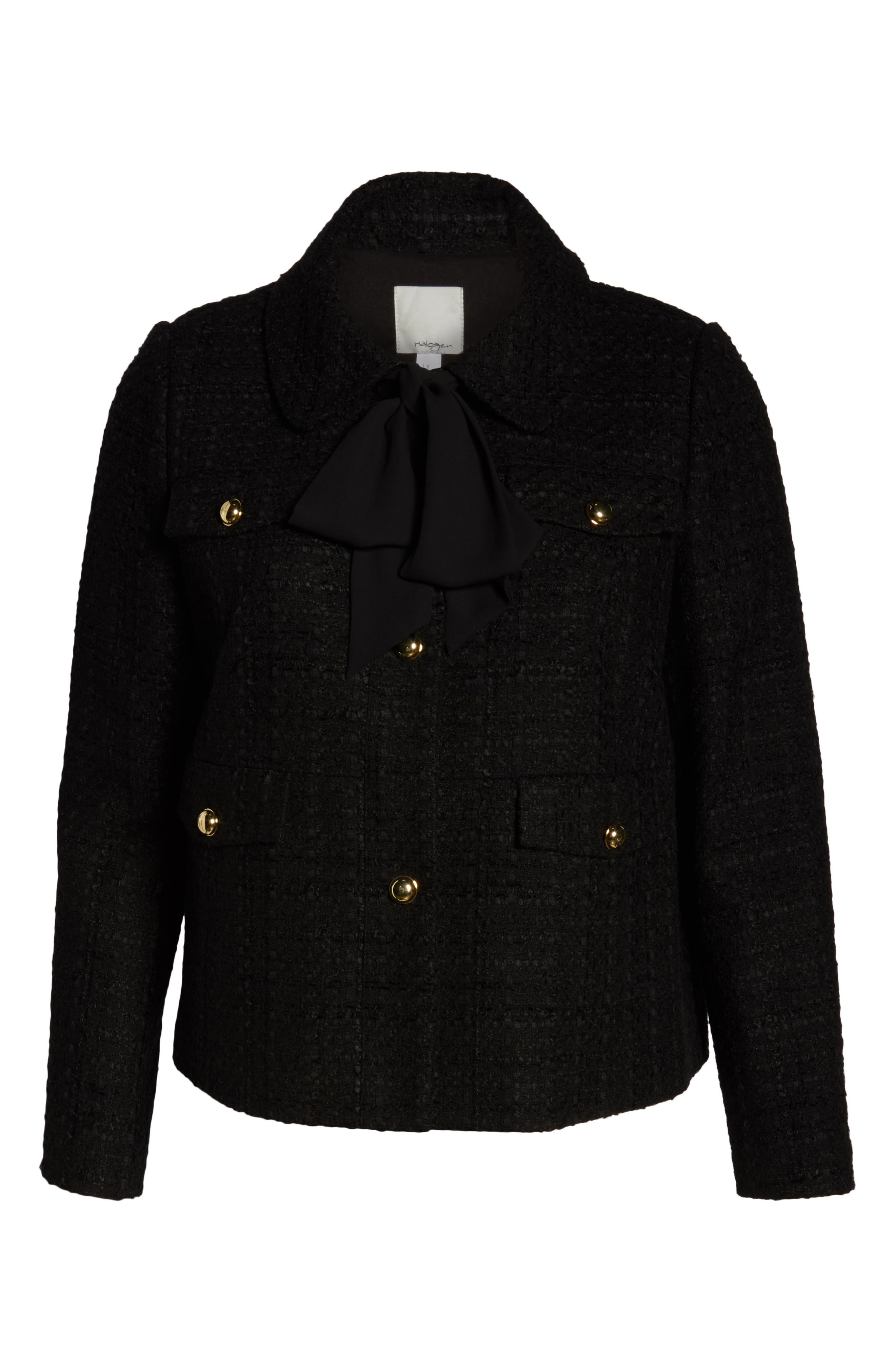 x Atlantic-Pacific Bow Detail Tweed Jacket,                             Alternate thumbnail 6, color,                             001