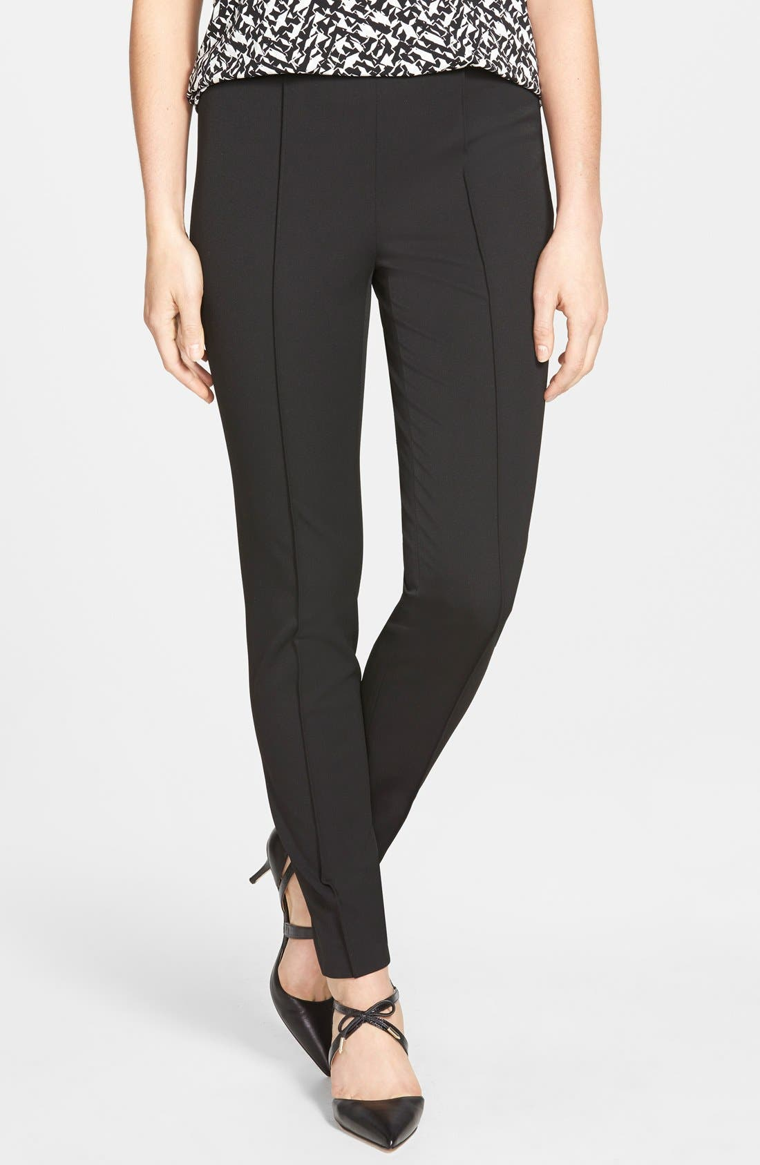 Side Zip Stretch Twill Pants,                         Main,                         color, RICH BLACK