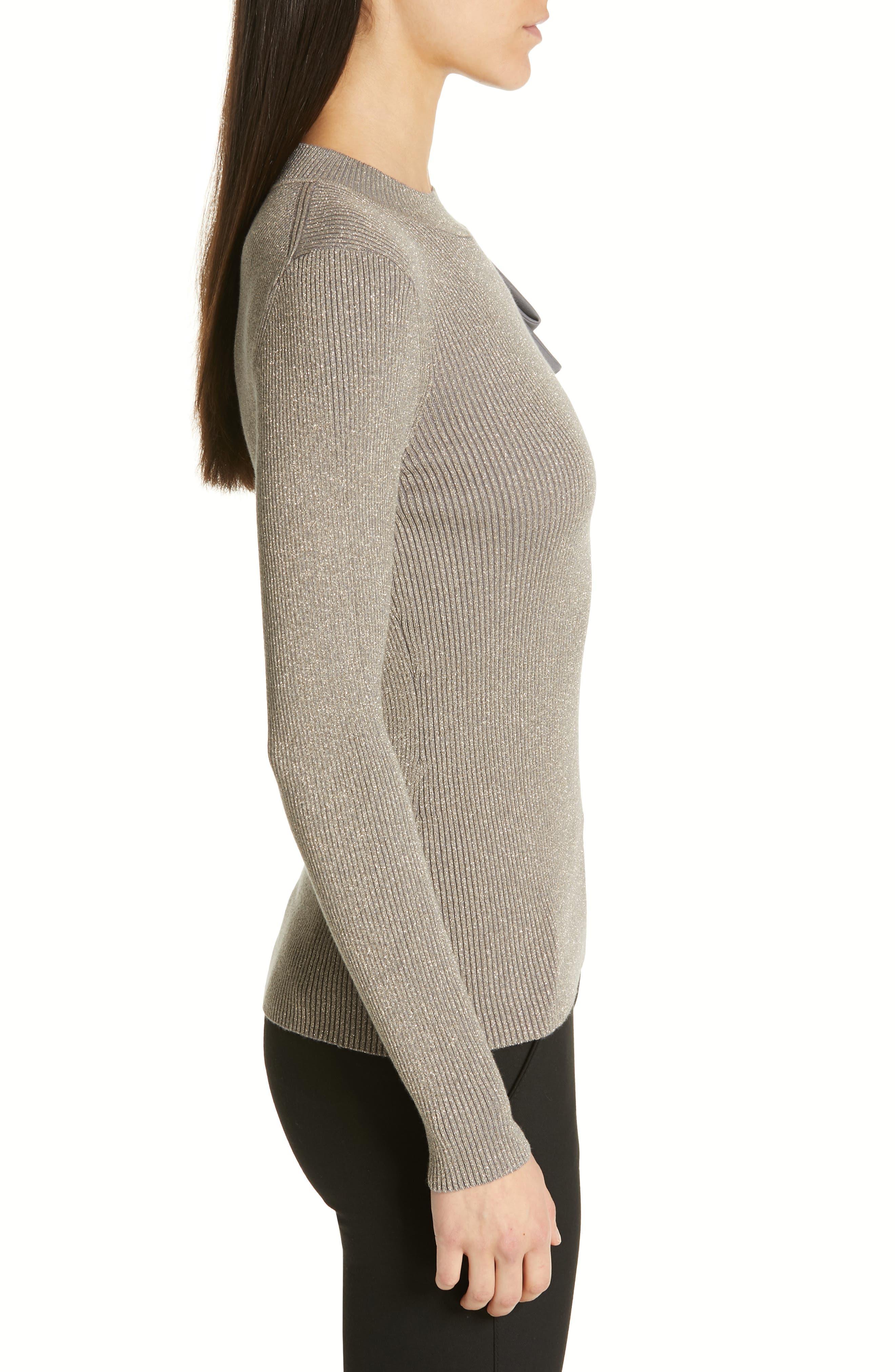 Saaydie Bow Trim Metallic Sweater,                             Alternate thumbnail 3, color,                             CHARCOAL