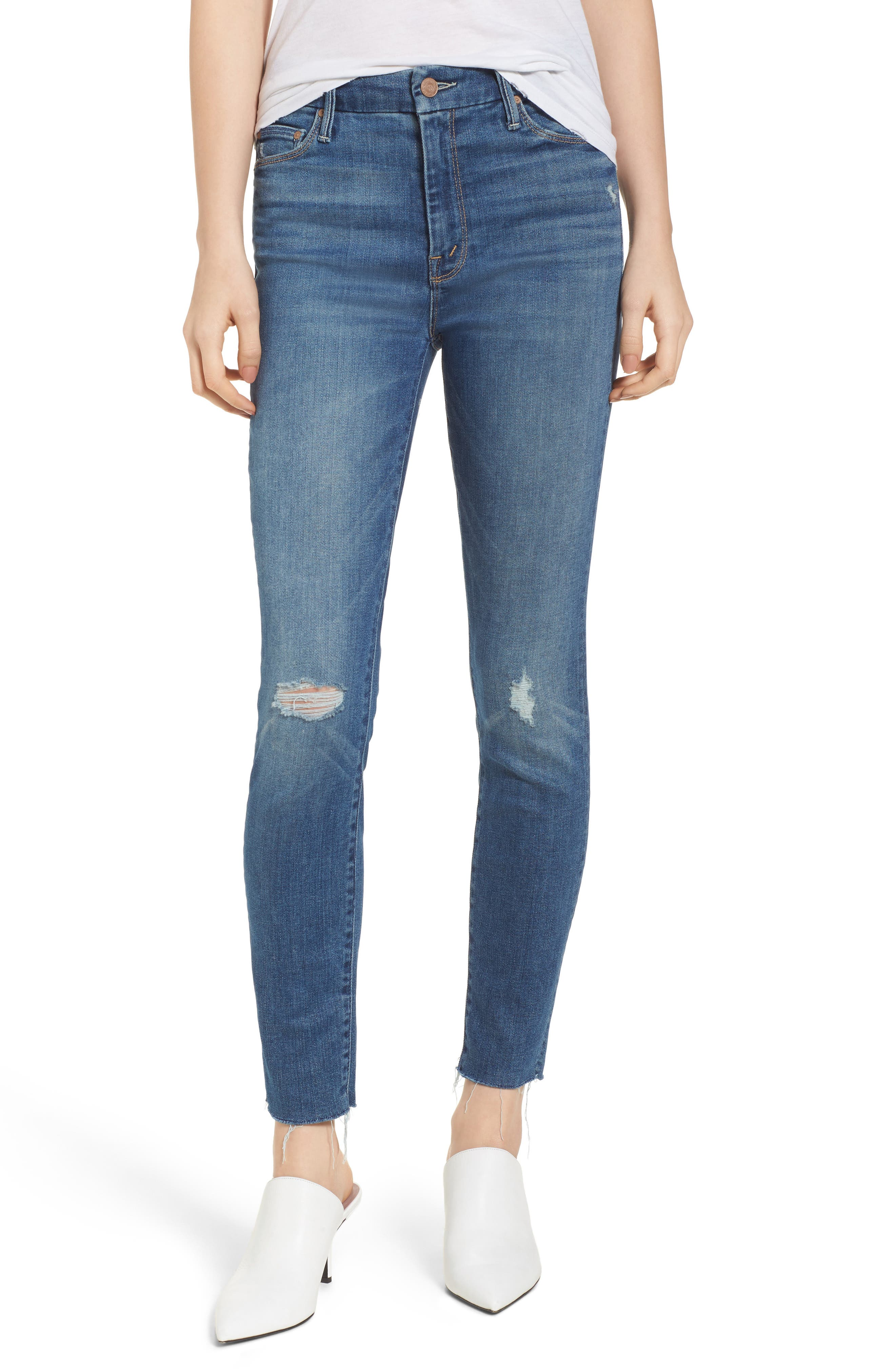 The Looker Frayed Ankle Jeans,                             Main thumbnail 1, color,                             420