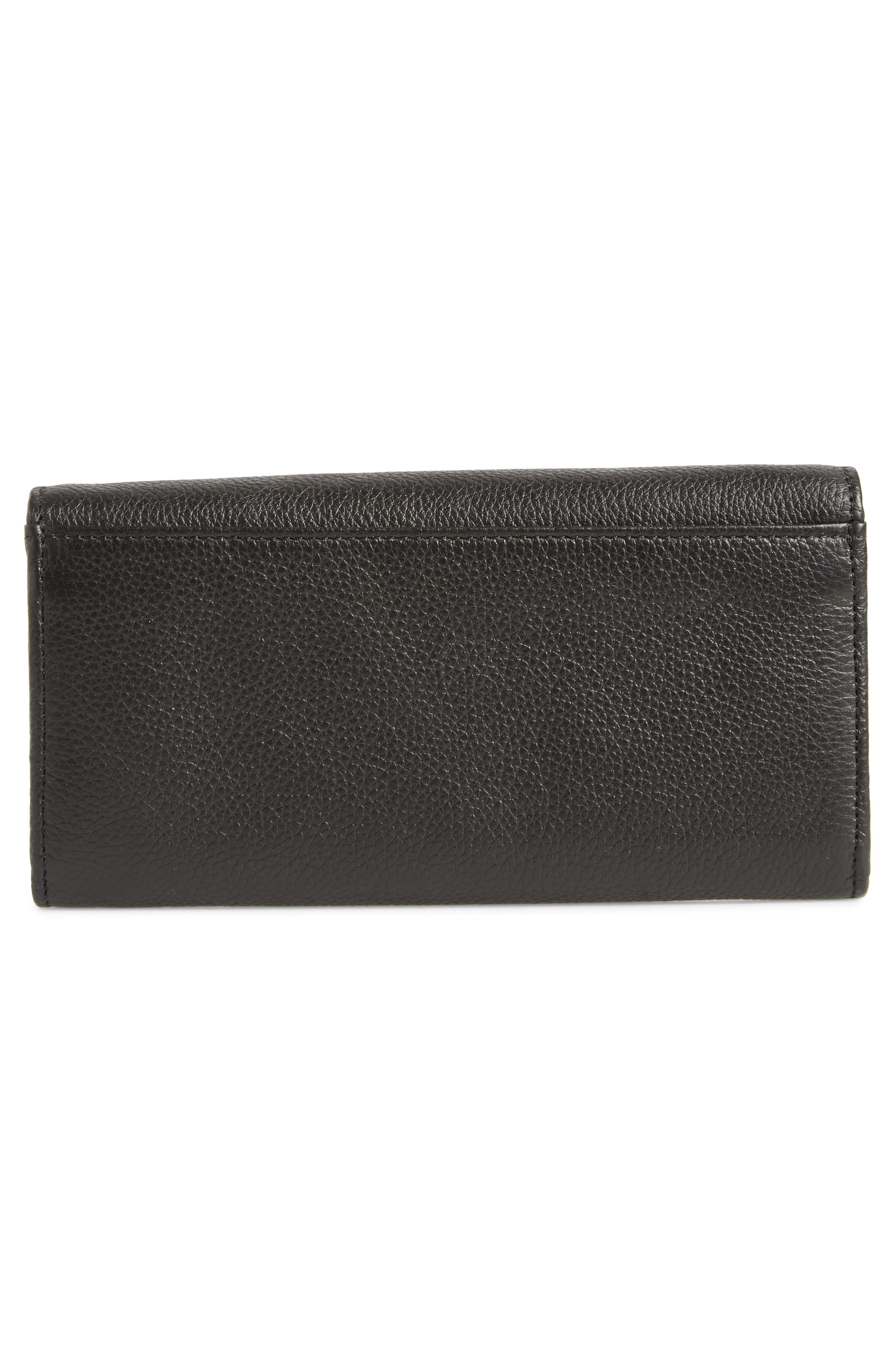 Lizzie Leather Continental Wallet,                             Alternate thumbnail 4, color,                             BLACK