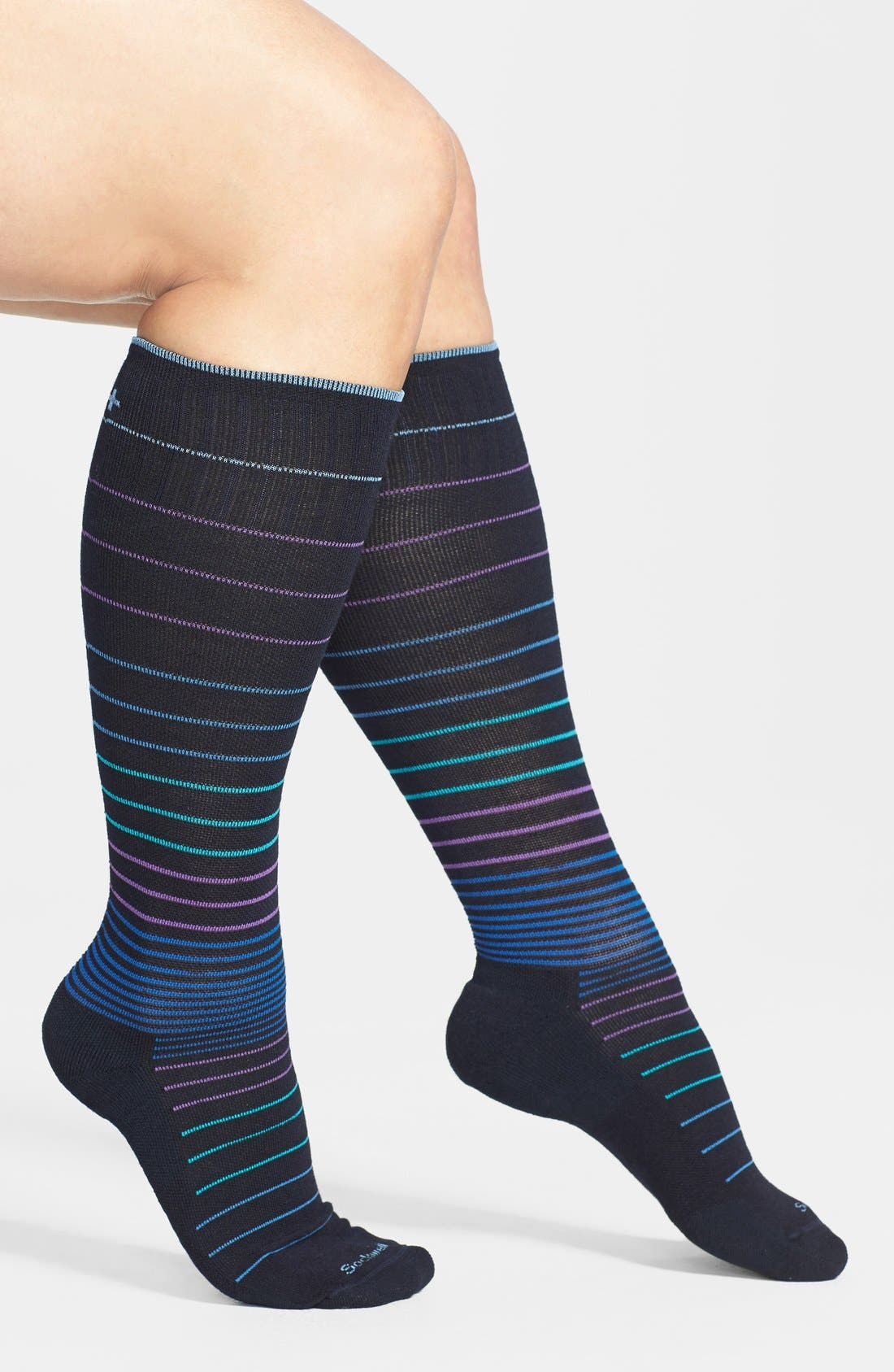 Circulator Compression Socks,                             Main thumbnail 1, color,                             NAVY BLACK/ BLUE STRIPES