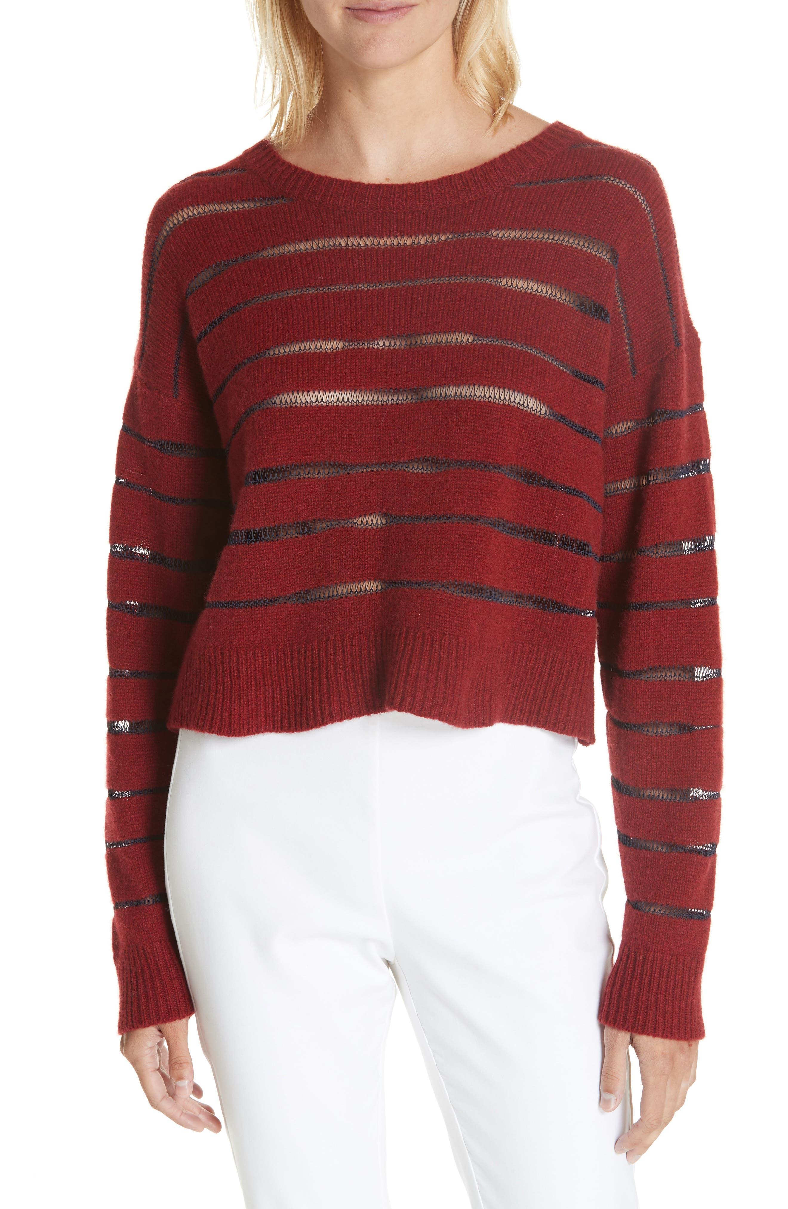 Penn Sheer Stripe Crop Sweater,                             Main thumbnail 1, color,                             068