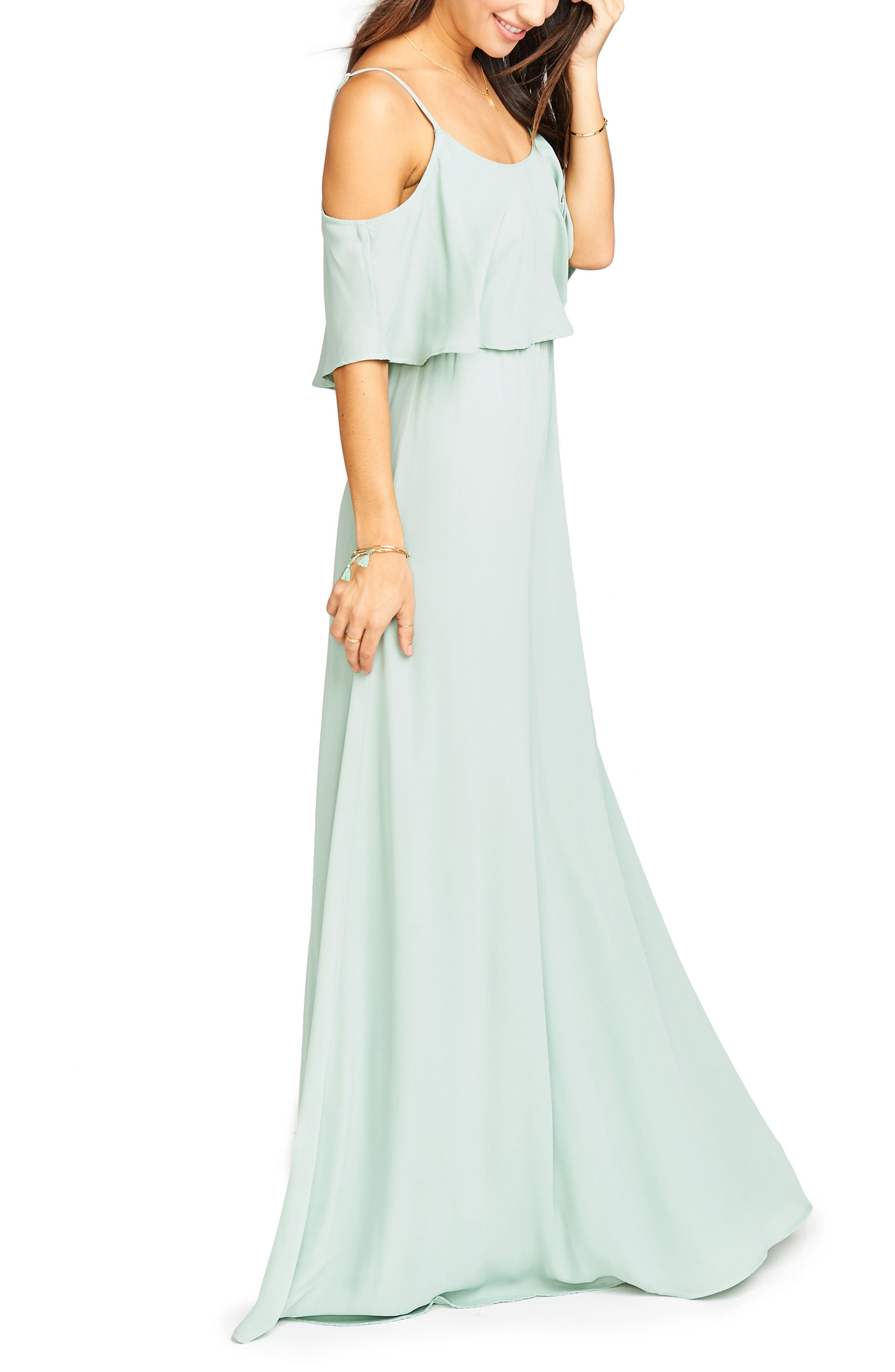 Caitlin Cold Shoulder Chiffon Gown,                             Alternate thumbnail 60, color,