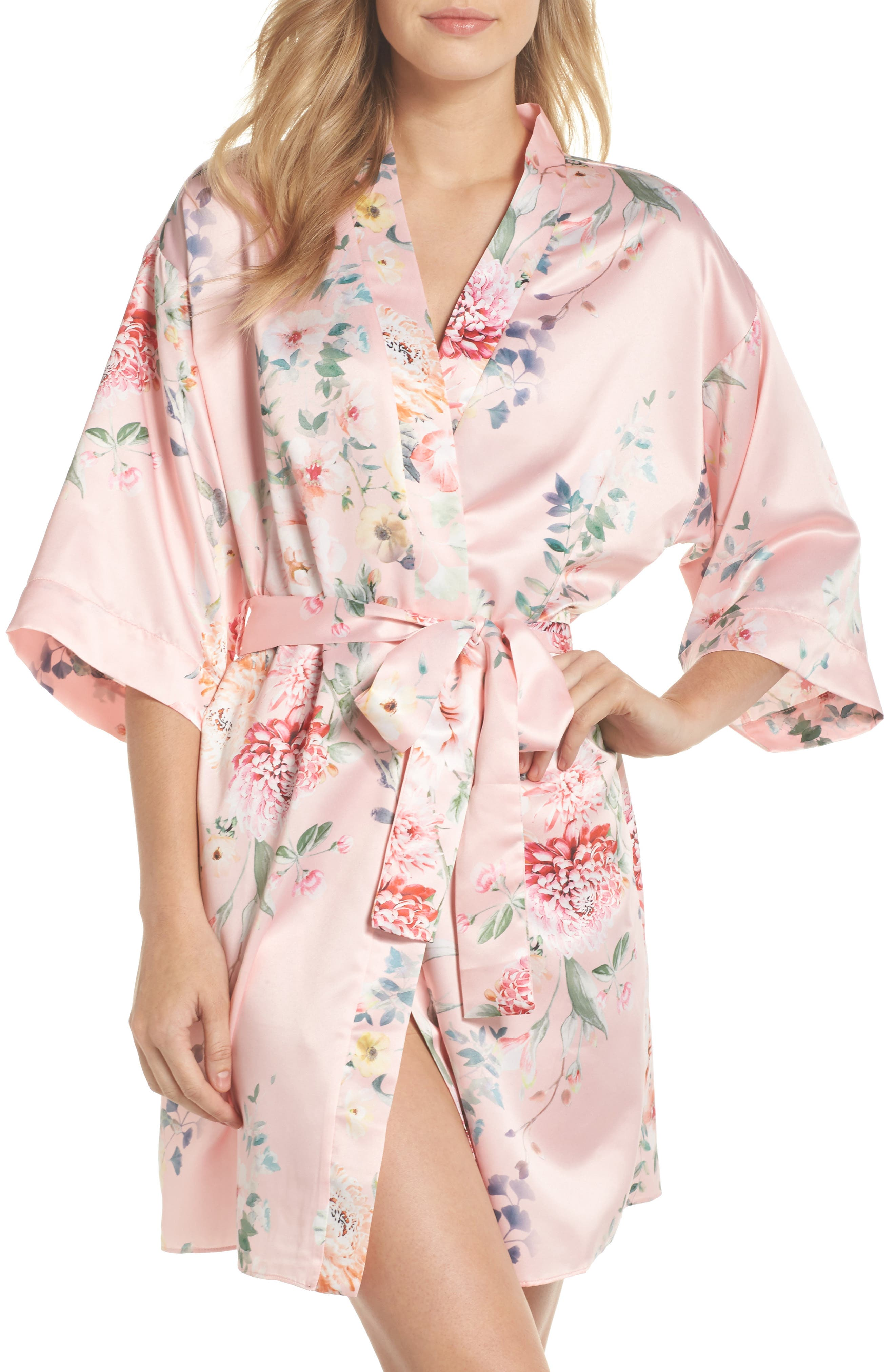 Renata Short Satin Robe,                             Main thumbnail 3, color,