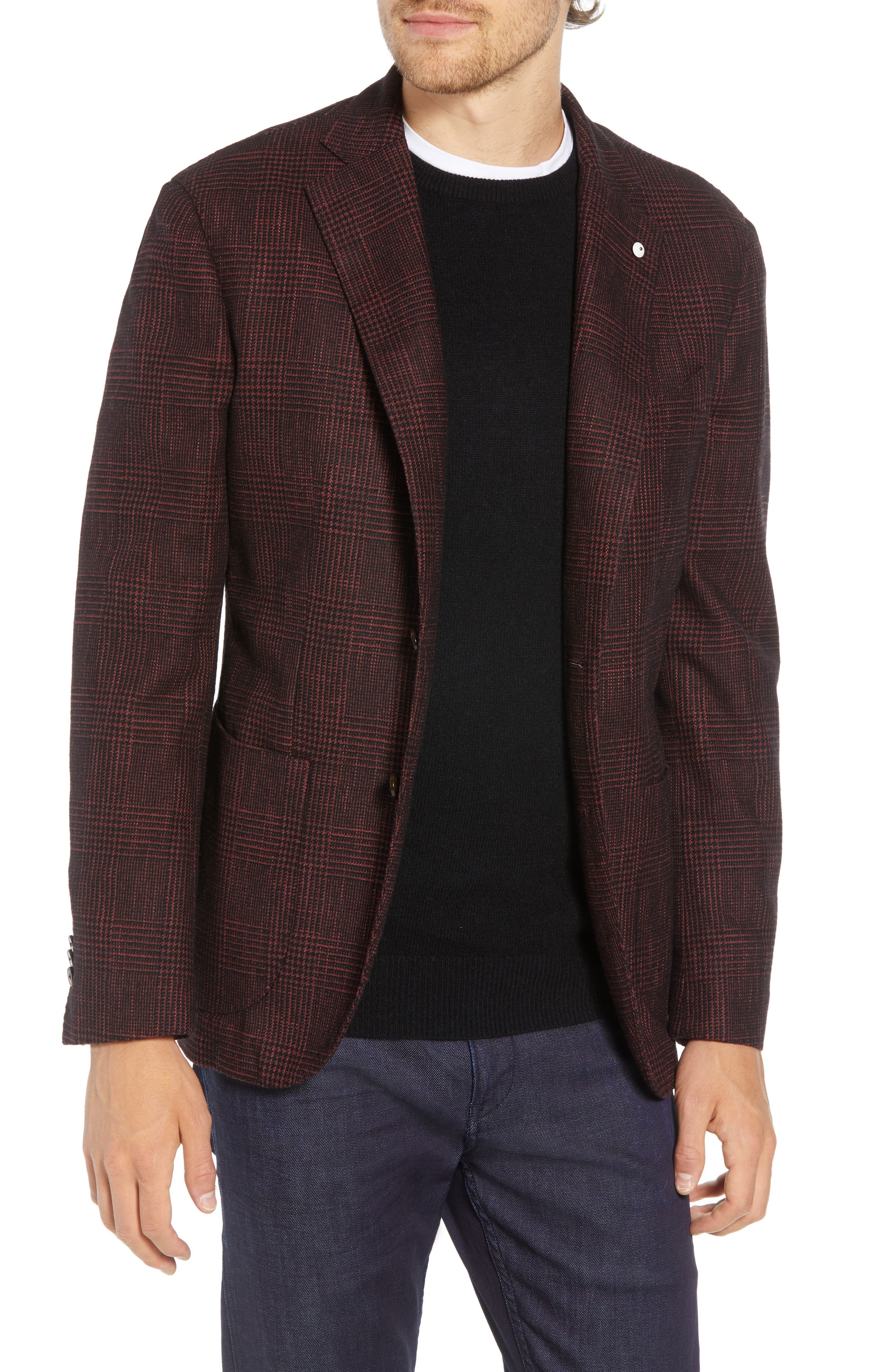 L.B.M. L.B.M 1911 Classic Fit Plaid Cotton Blend Sport Coat in Red