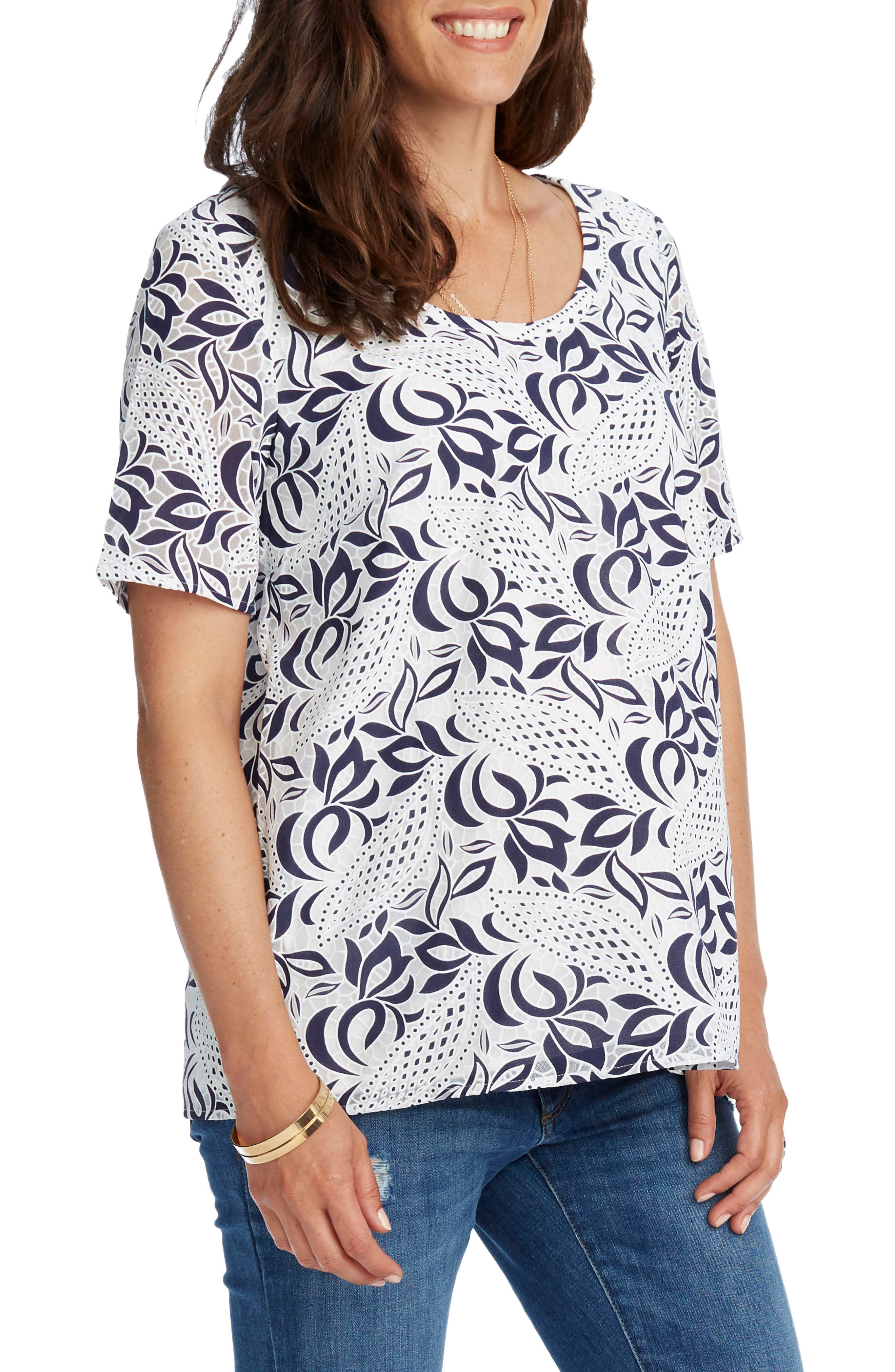 'Ava' Lace Maternity Top,                             Alternate thumbnail 4, color,                             NAVY/ WHITE