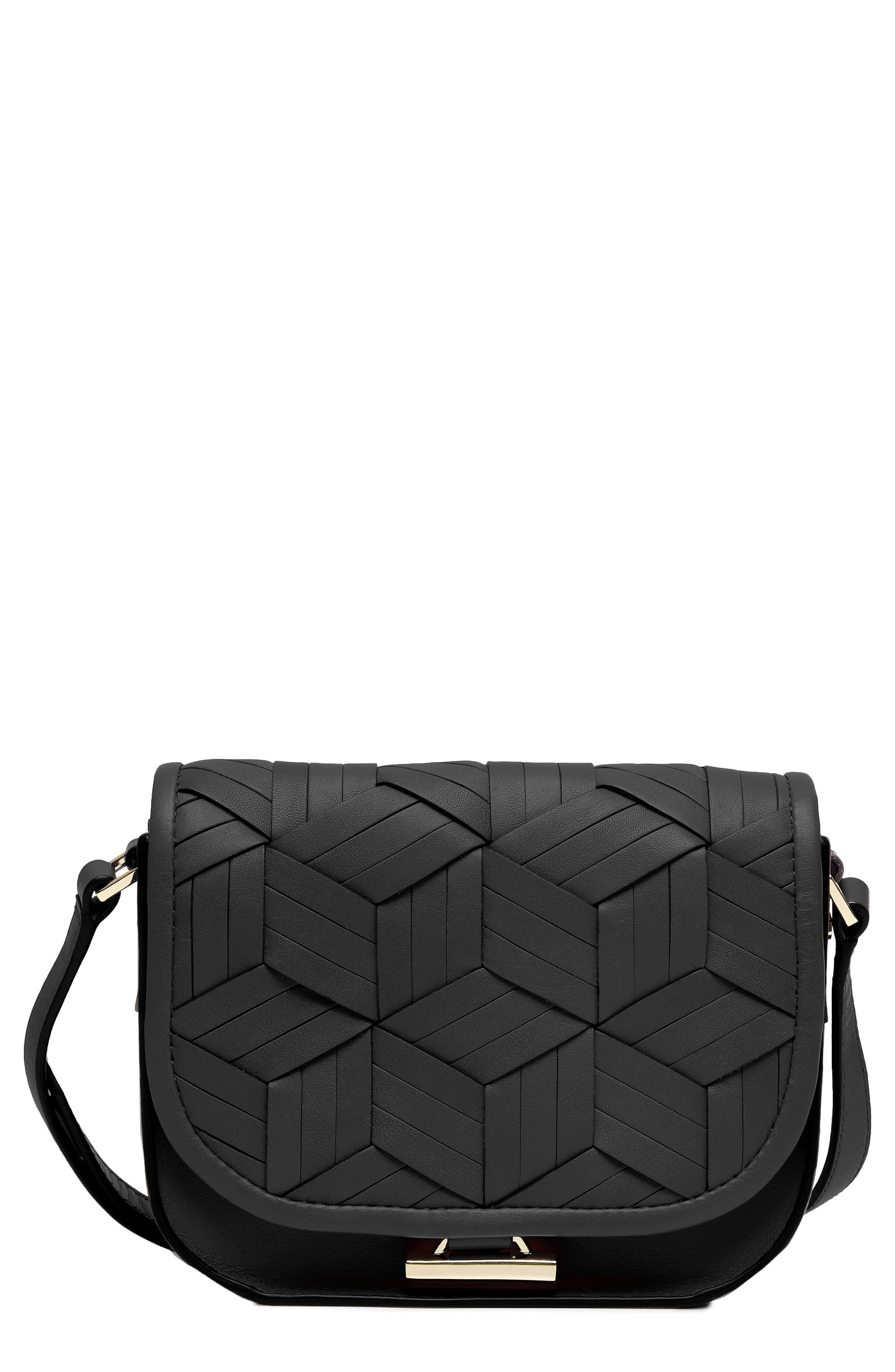 Mini Summit Leather Crossbody Bag,                             Main thumbnail 1, color,                             BLACK
