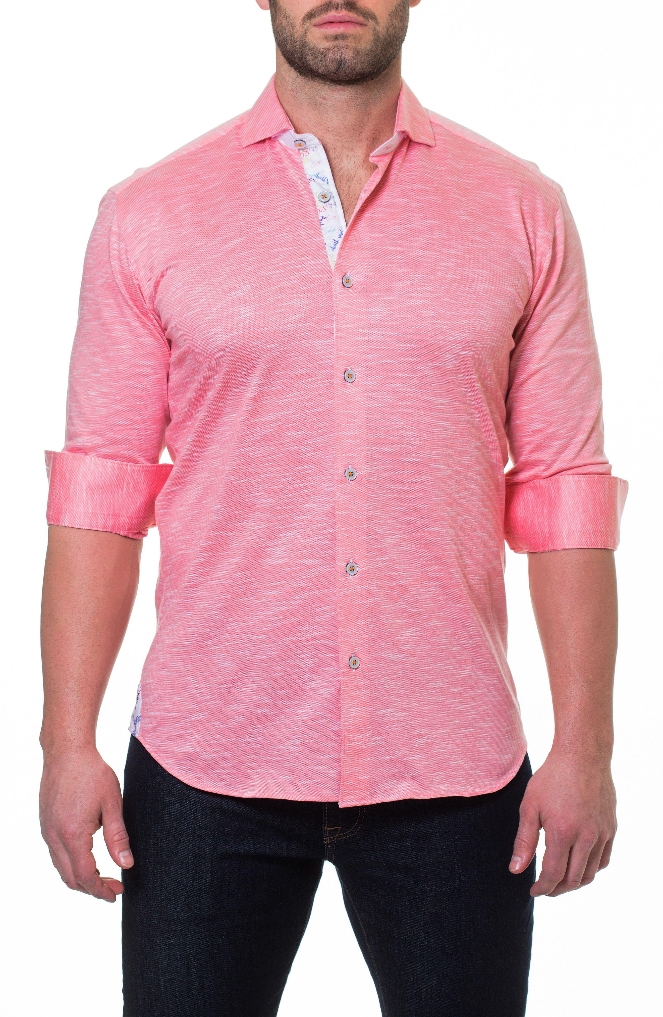 Wall Street Salmon Slim Fit Sport Shirt,                         Main,                         color, 660