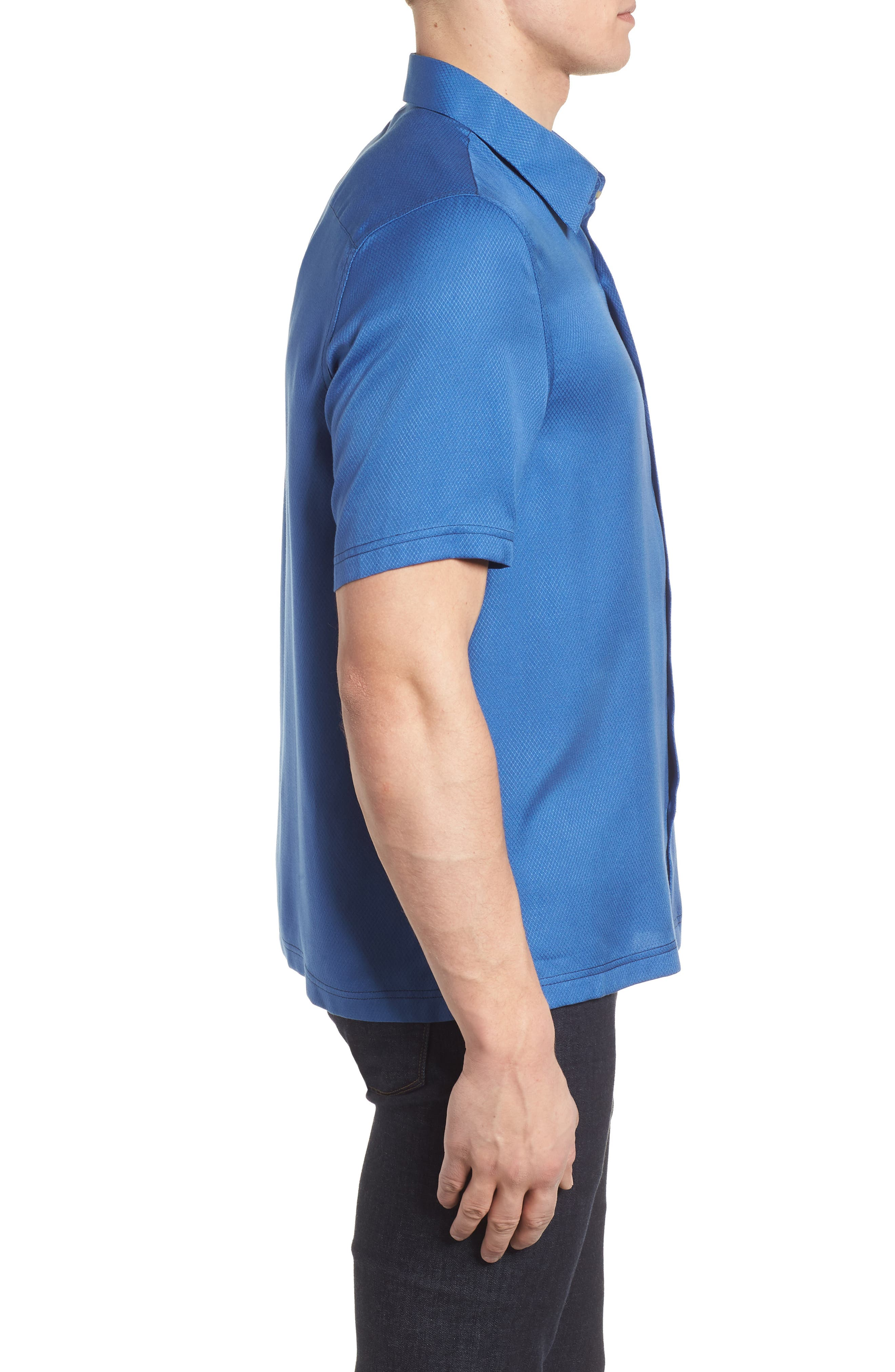 'Honeycomb' Regular Fit Short Sleeve Textured Sport Shirt,                             Alternate thumbnail 5, color,