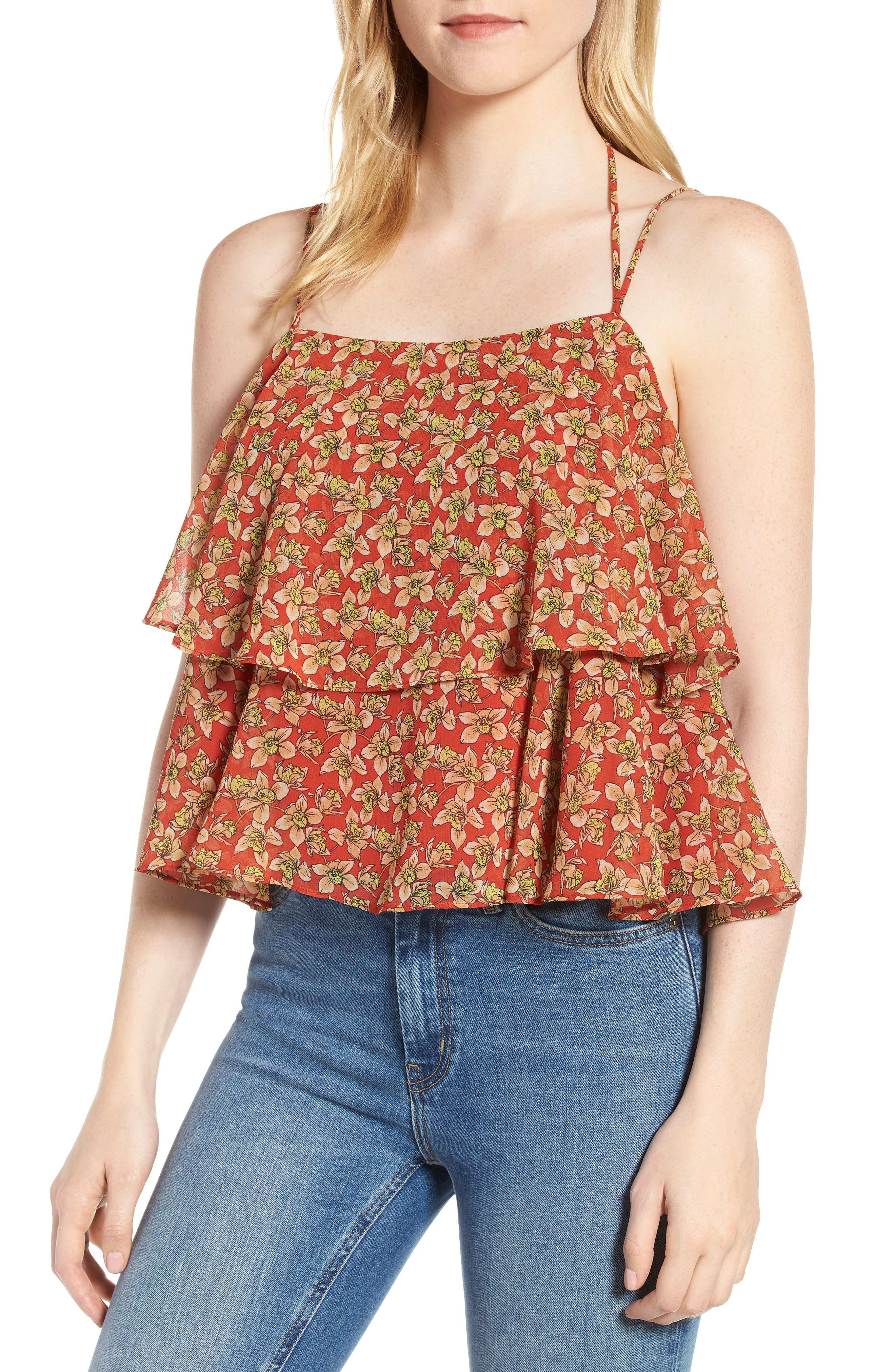Cynthia Floral Tiered Top,                             Main thumbnail 1, color,                             RED MULTI