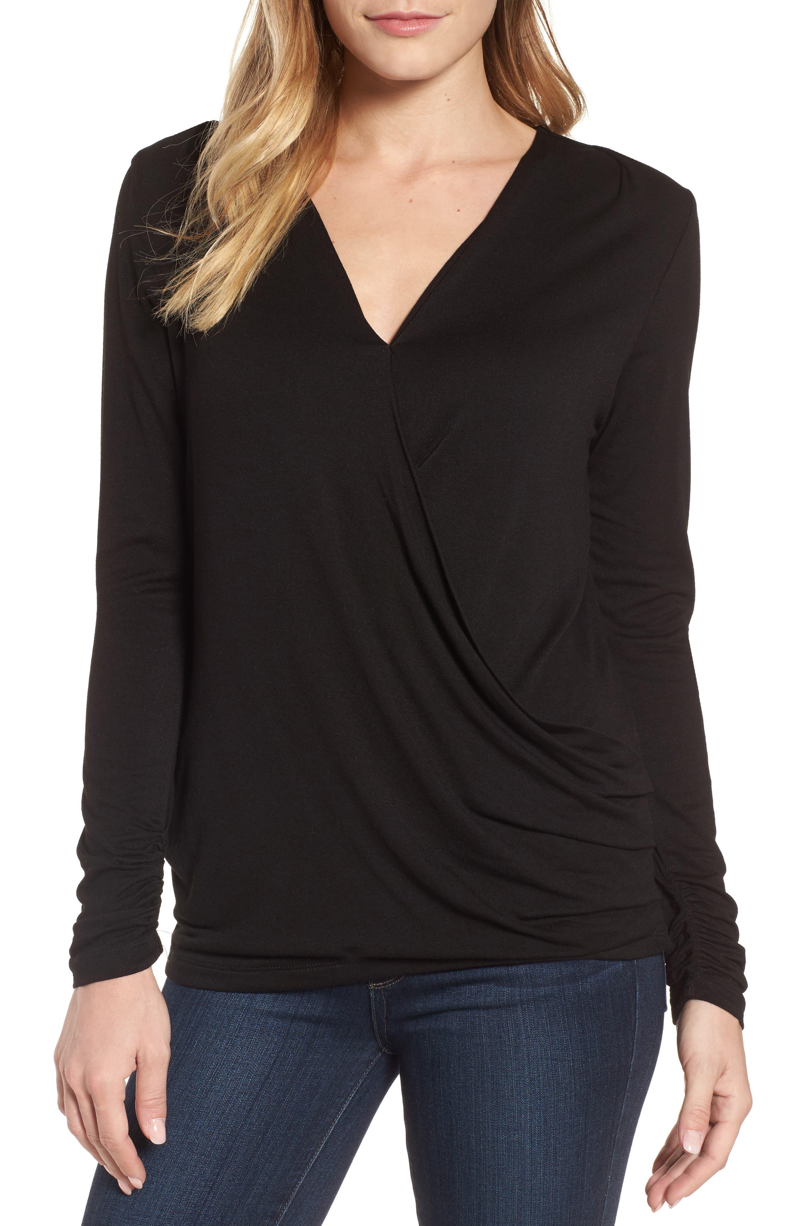 Faux Wrap Knit Top,                         Main,                         color, BLACK