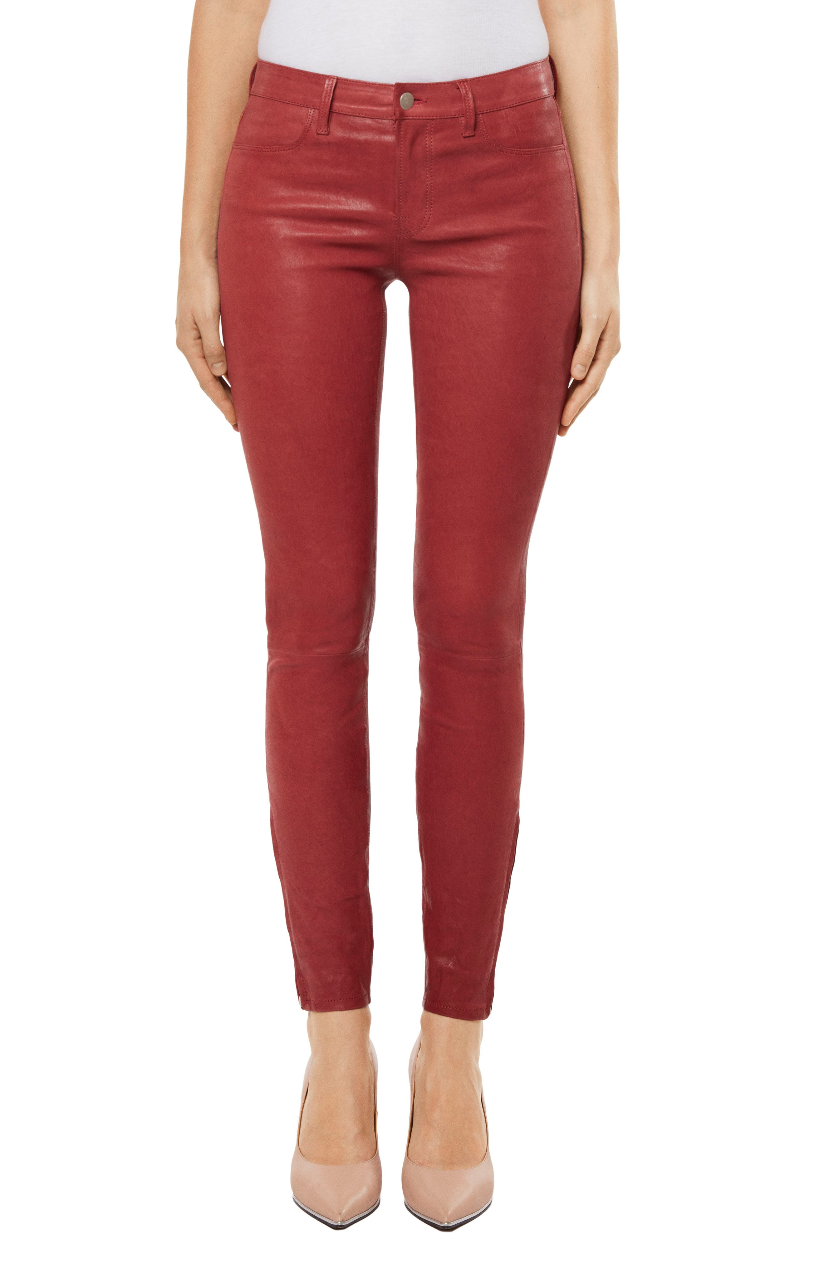 '8001' Lambskin Leather Pants,                             Main thumbnail 7, color,