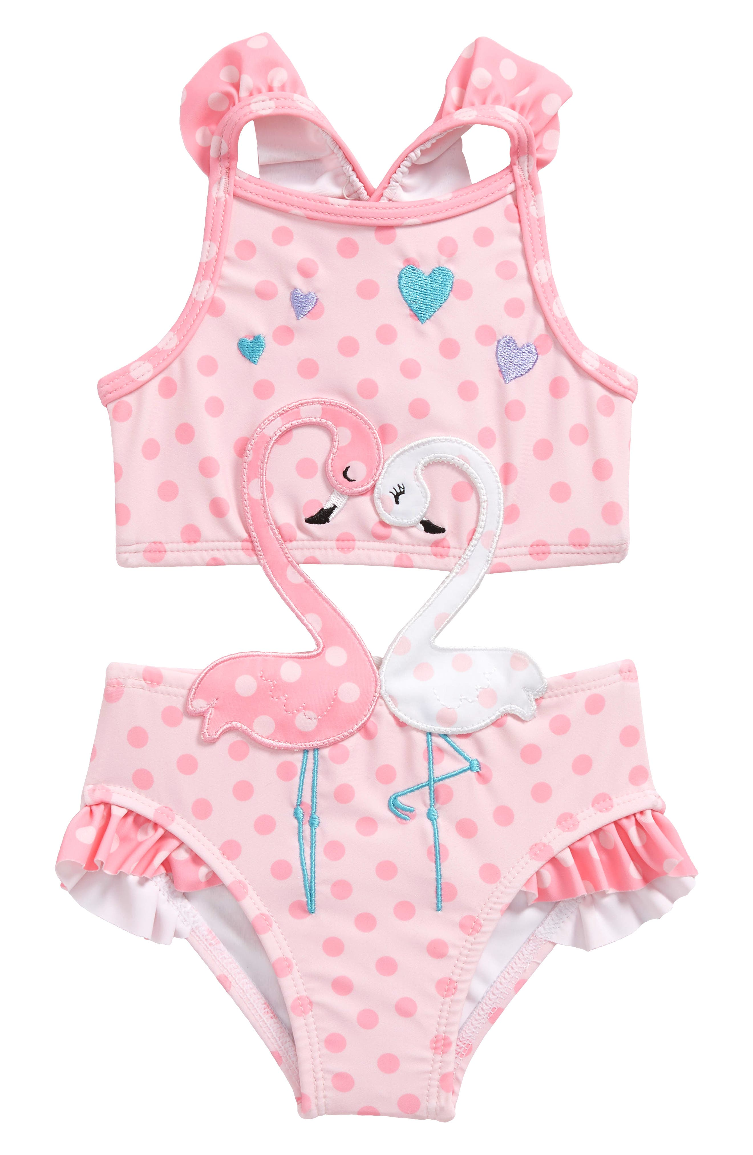 Flamingos in Love Cutout One-Piece Swimsuit,                             Main thumbnail 1, color,                             650