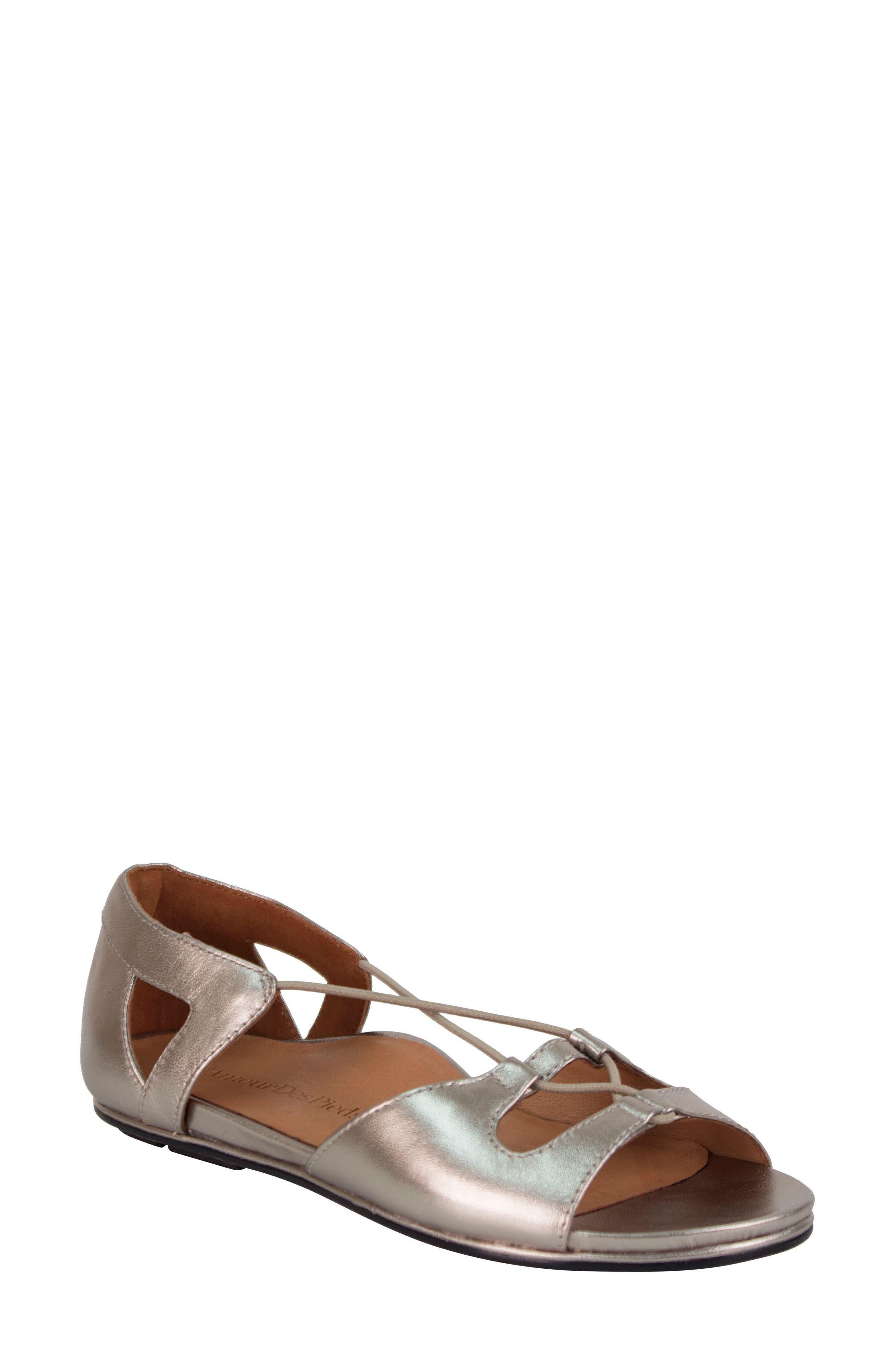 L'AMOUR DES PIEDS 'Darron' Sandal, Main, color, PEWTER LEATHER