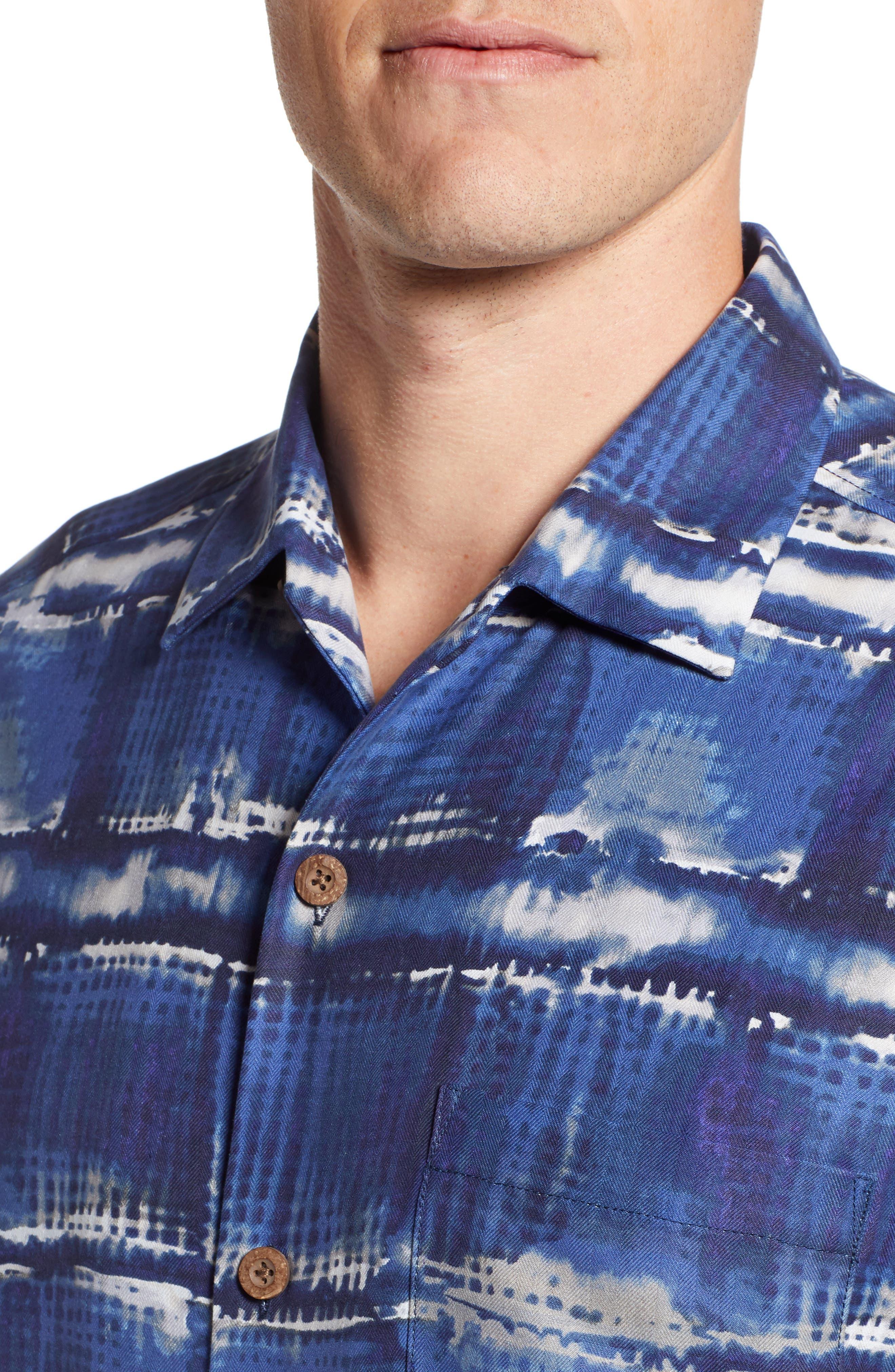 Tie Dye For Silk Camp Shirt,                             Alternate thumbnail 4, color,                             BLUE JEAN