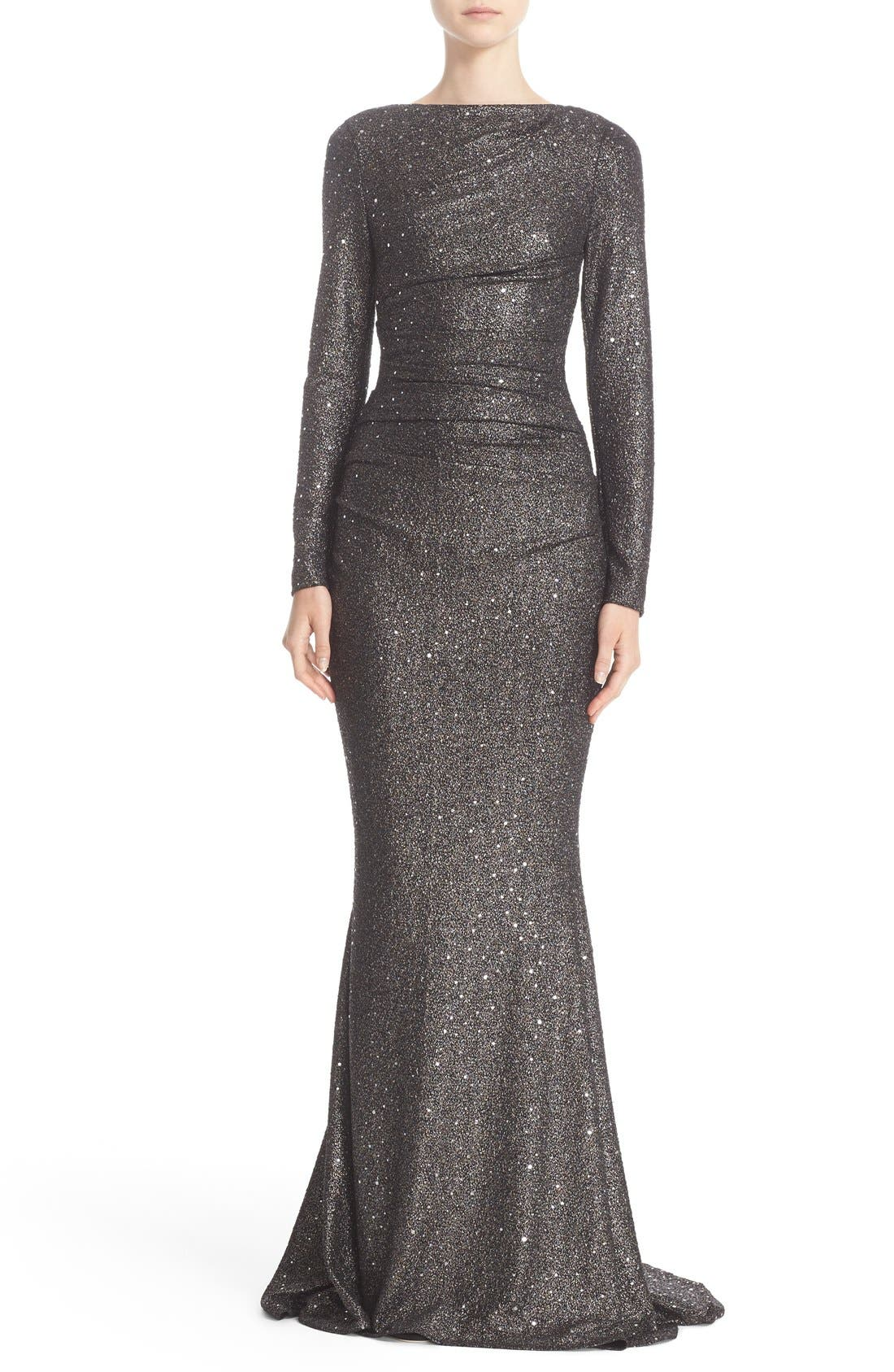 Sequin Glitter Jersey Ruched Gown,                         Main,                         color,
