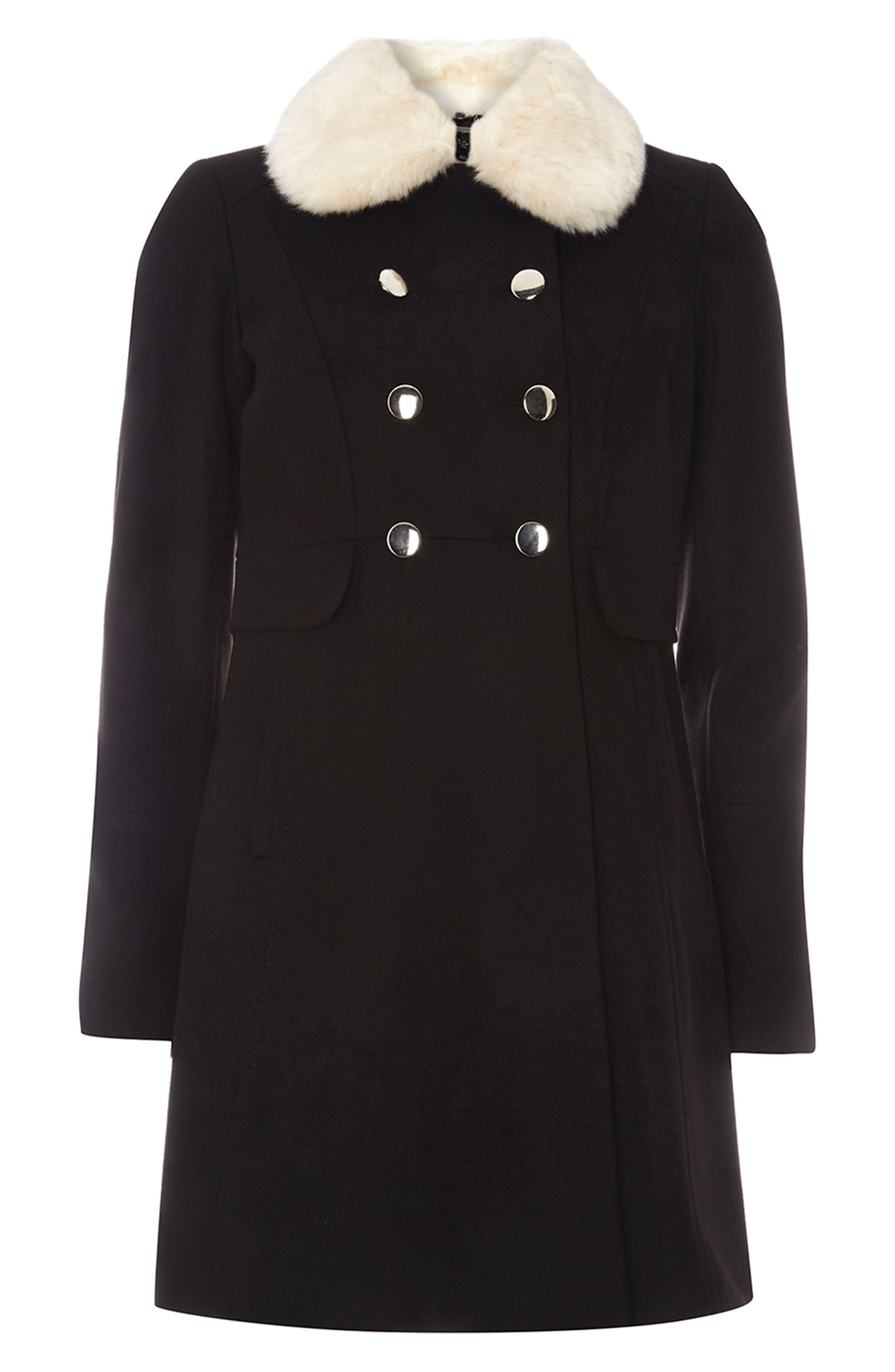 Fit & Flare Peacoat with Removable Faux Fur Trim,                             Alternate thumbnail 3, color,