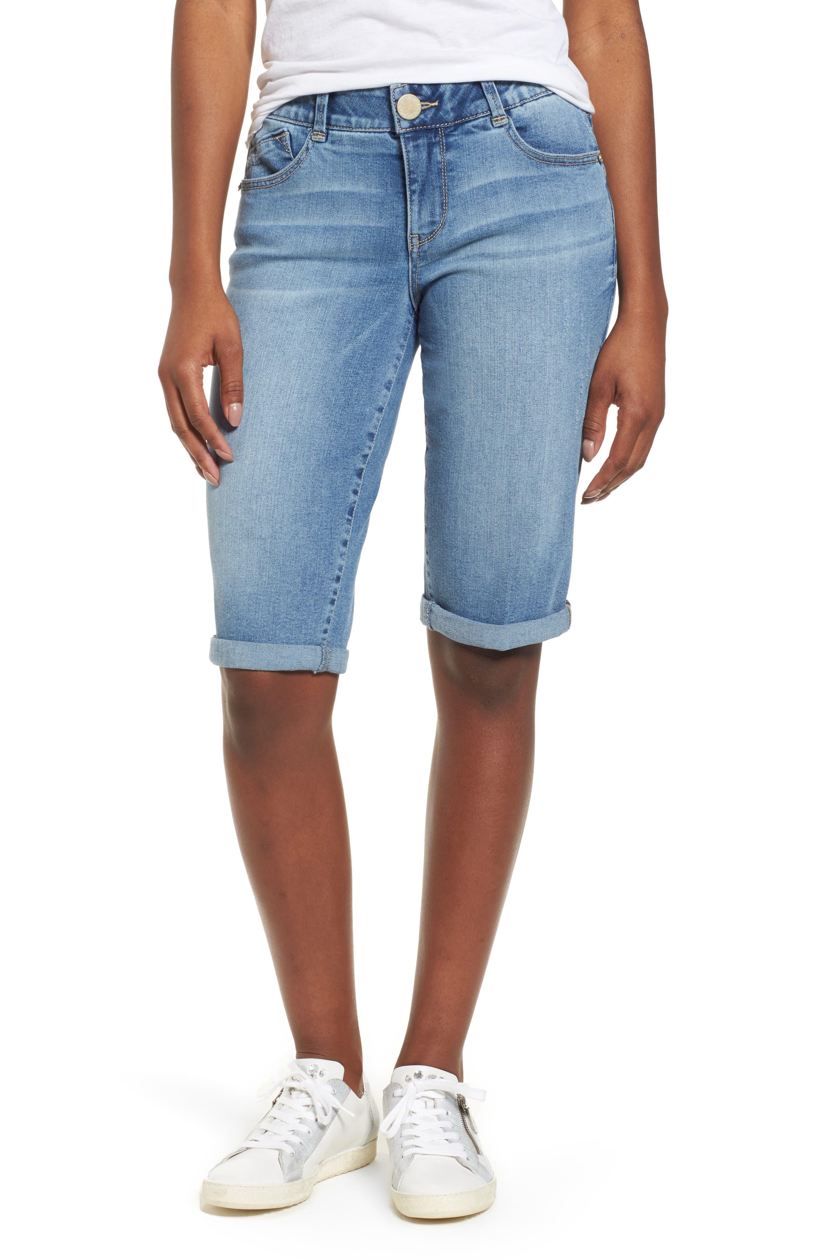 Ab-solution Cuffed Denim Shorts,                             Main thumbnail 1, color,                             LIGHT BLUE