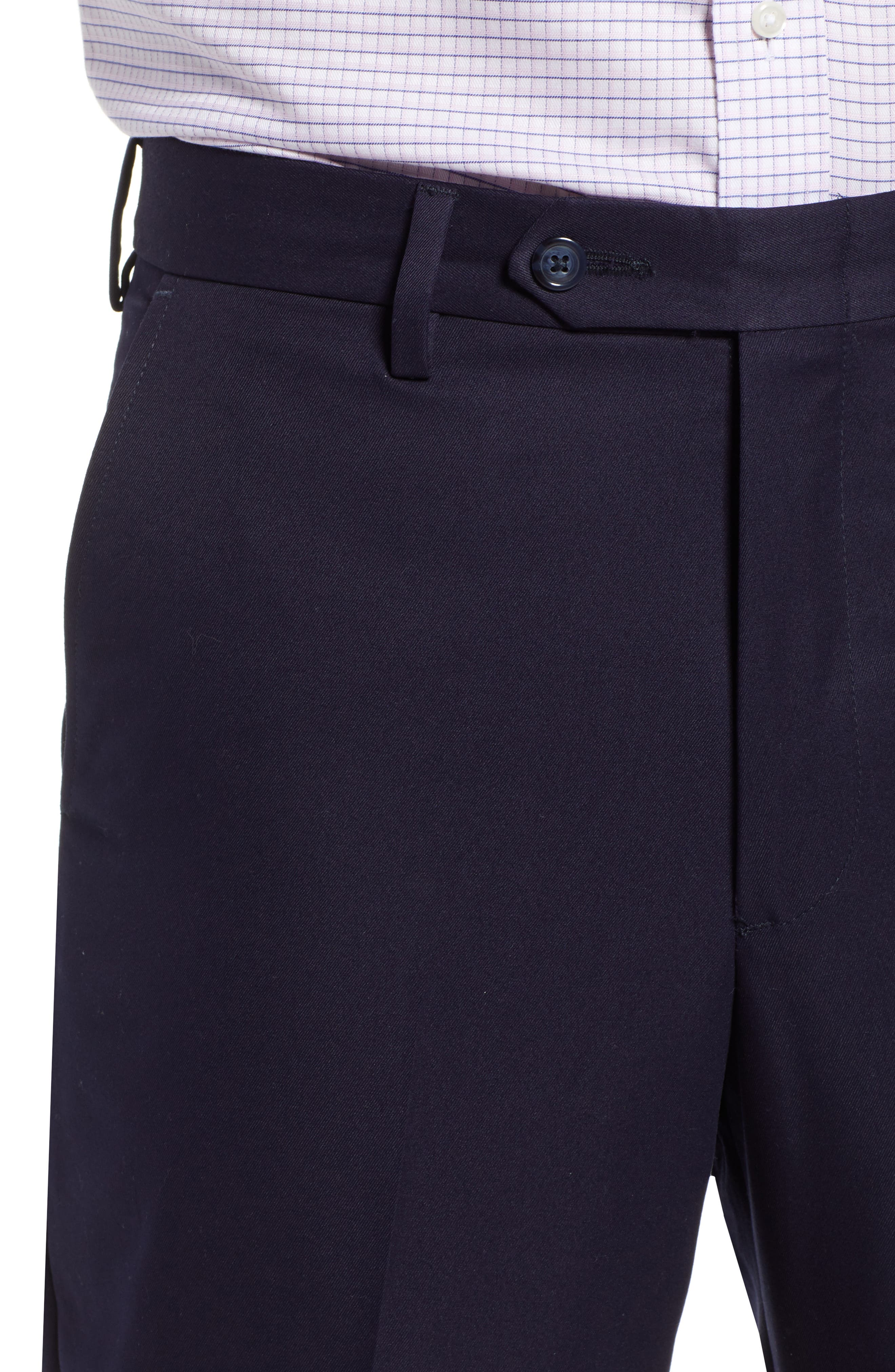 Classic Fit Flat Front Microfiber Performance Trousers,                             Alternate thumbnail 4, color,                             NAVY