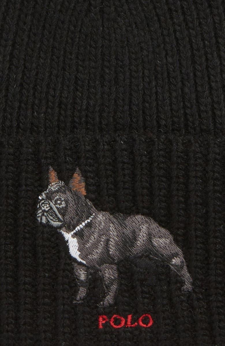 Shop Polo Ralph Lauren French Bulldog Knit Cap - Black In Polo Black 7a0e5e48323