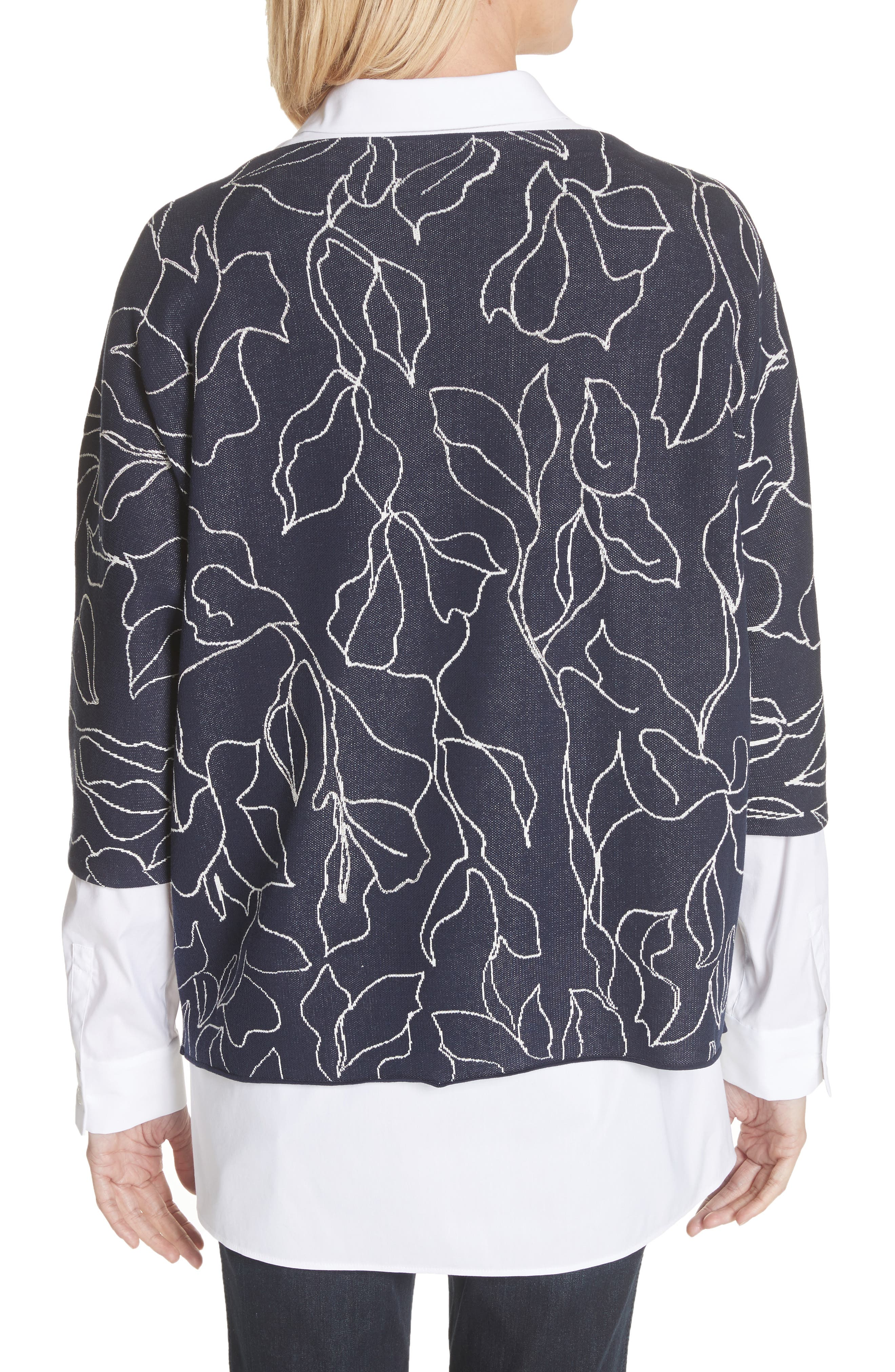 Chain Detail Floral Jacquard Sweater,                             Alternate thumbnail 2, color,                             426