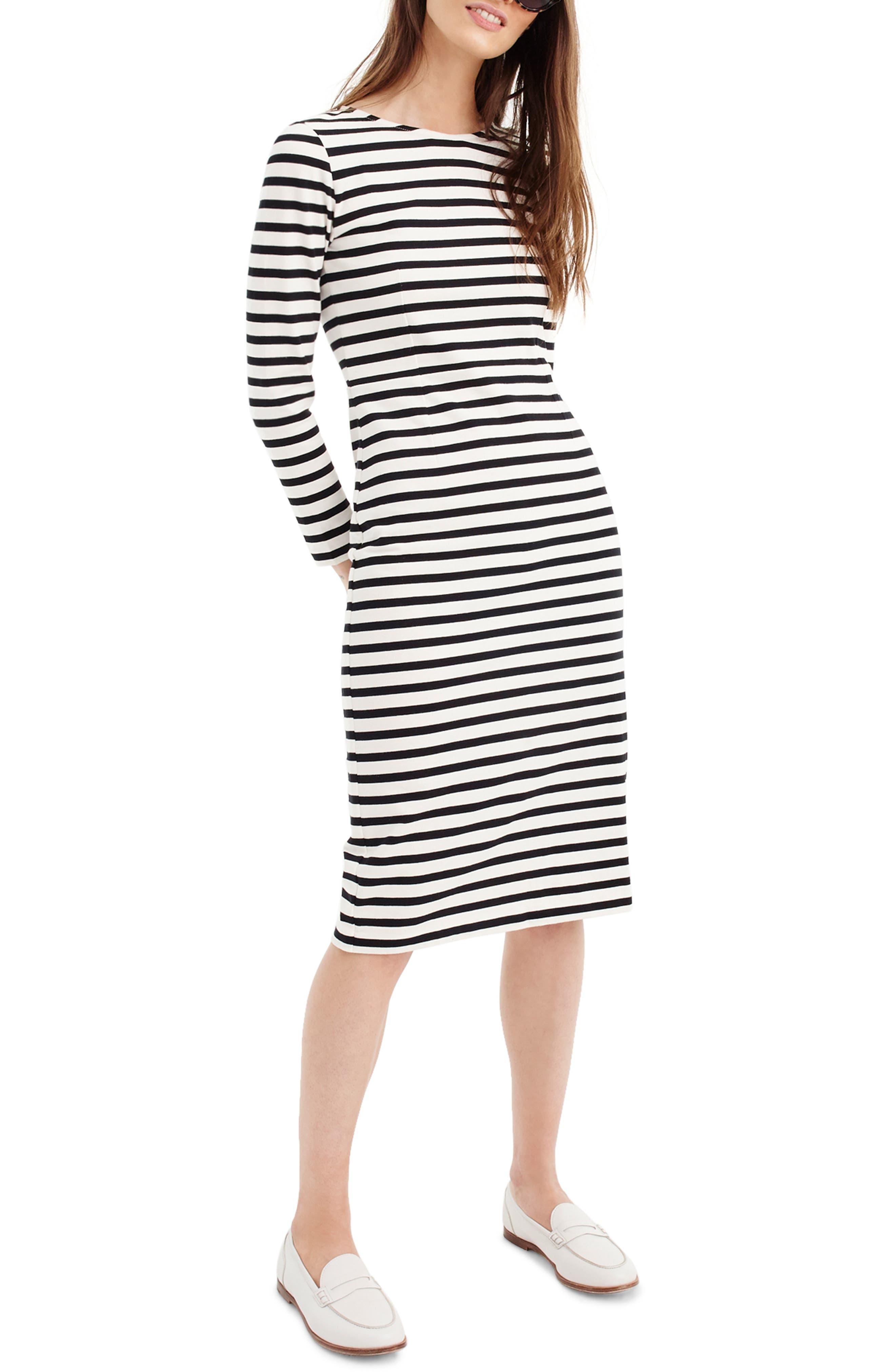 Petite J.crew Stripe Long Sleeve Cotton Dress, Black