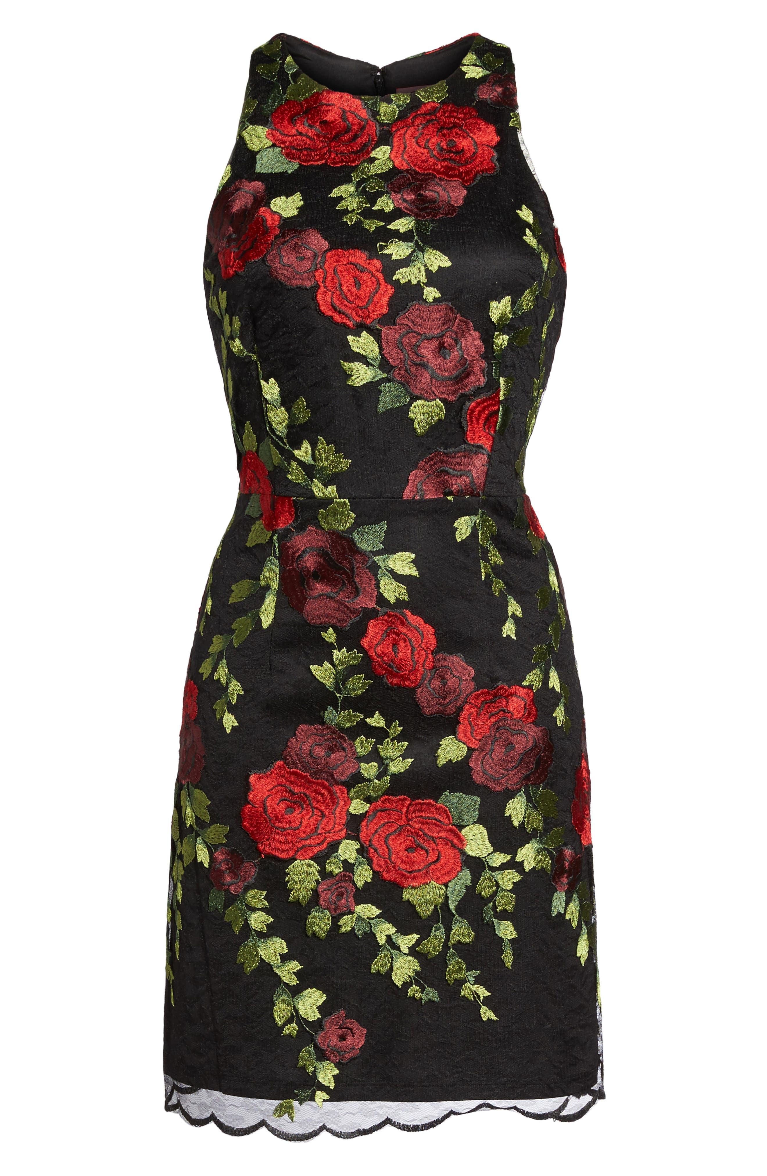 Lace Sheath Dress,                             Alternate thumbnail 6, color,                             007