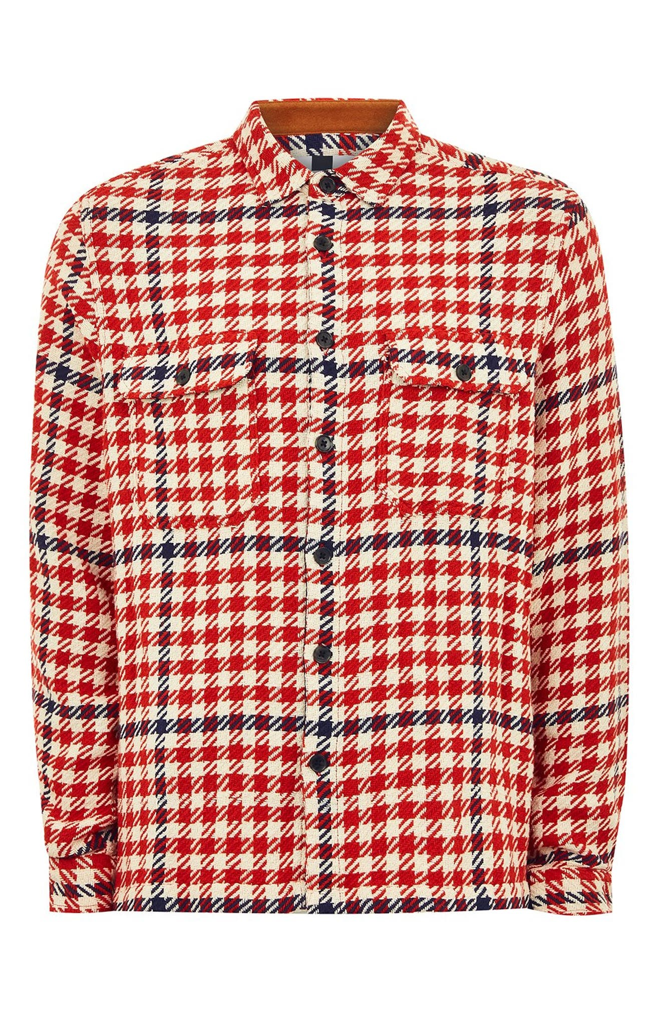 Classic Fit Houndstooth Overshirt,                             Alternate thumbnail 4, color,                             RED MULTI