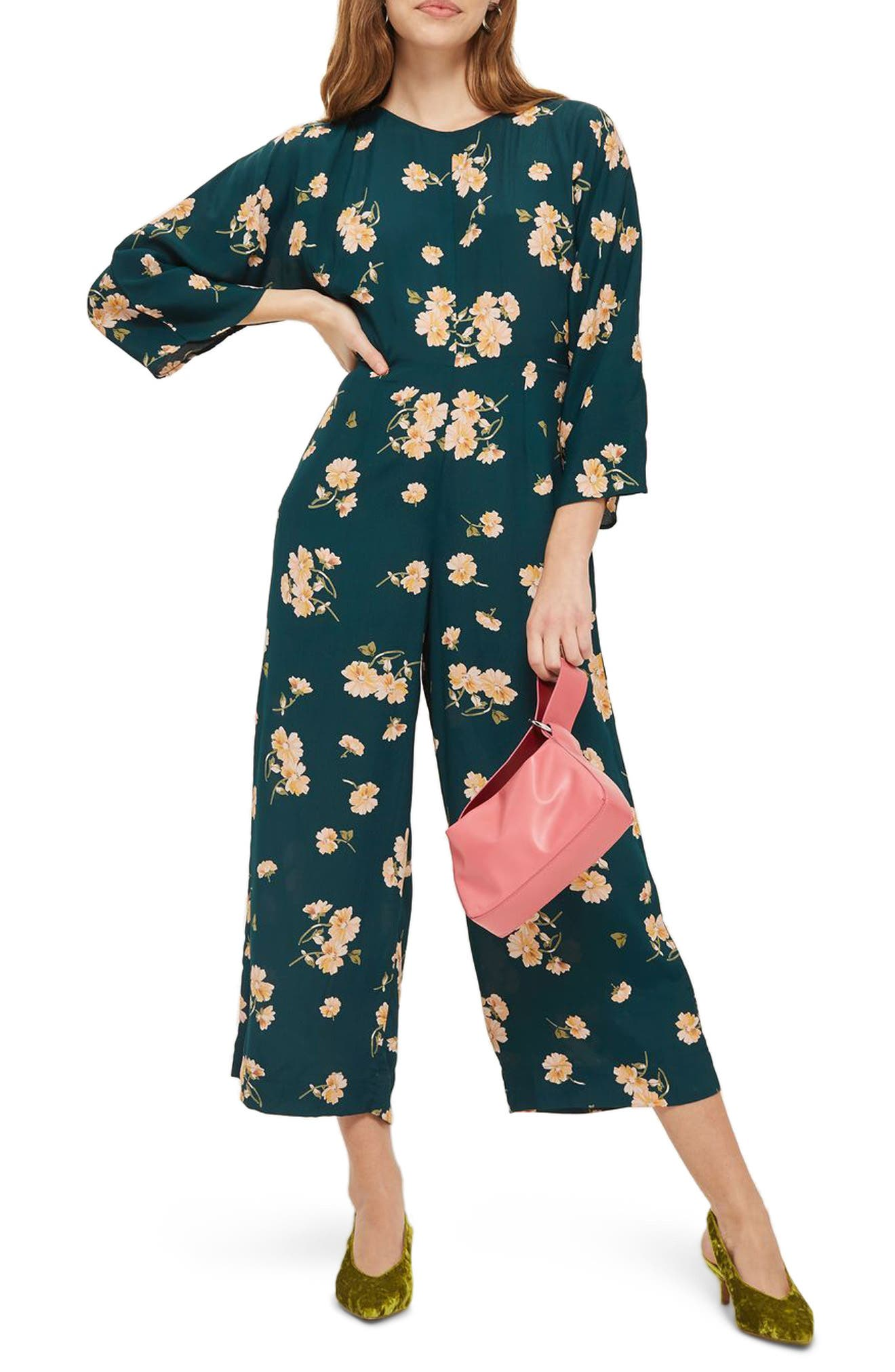 Floral Print Jumpsuit,                             Main thumbnail 1, color,                             301