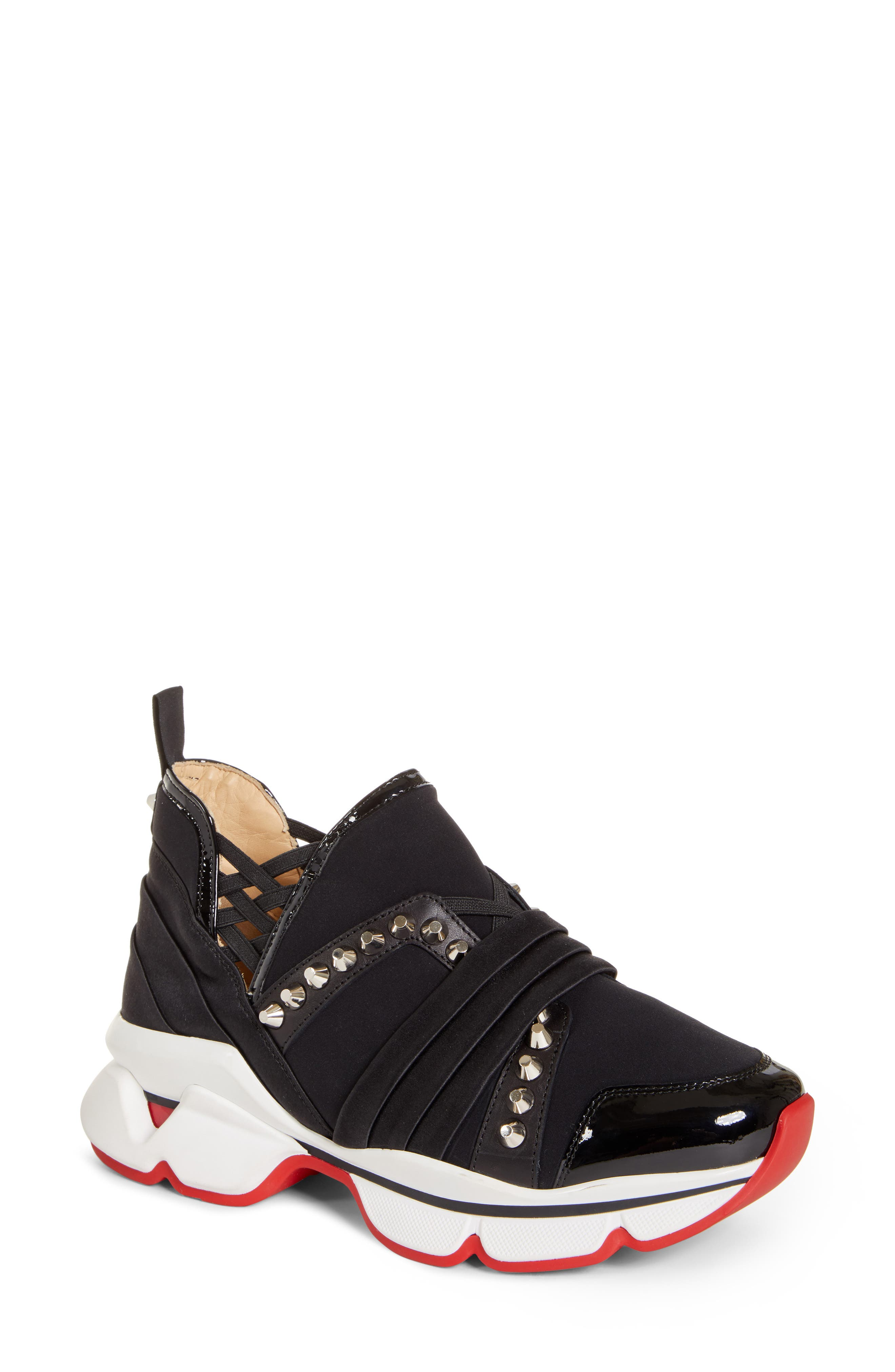 CHRISTIAN LOUBOUTIN,                             Run Slip-On Sneaker,                             Main thumbnail 1, color,                             BLACK