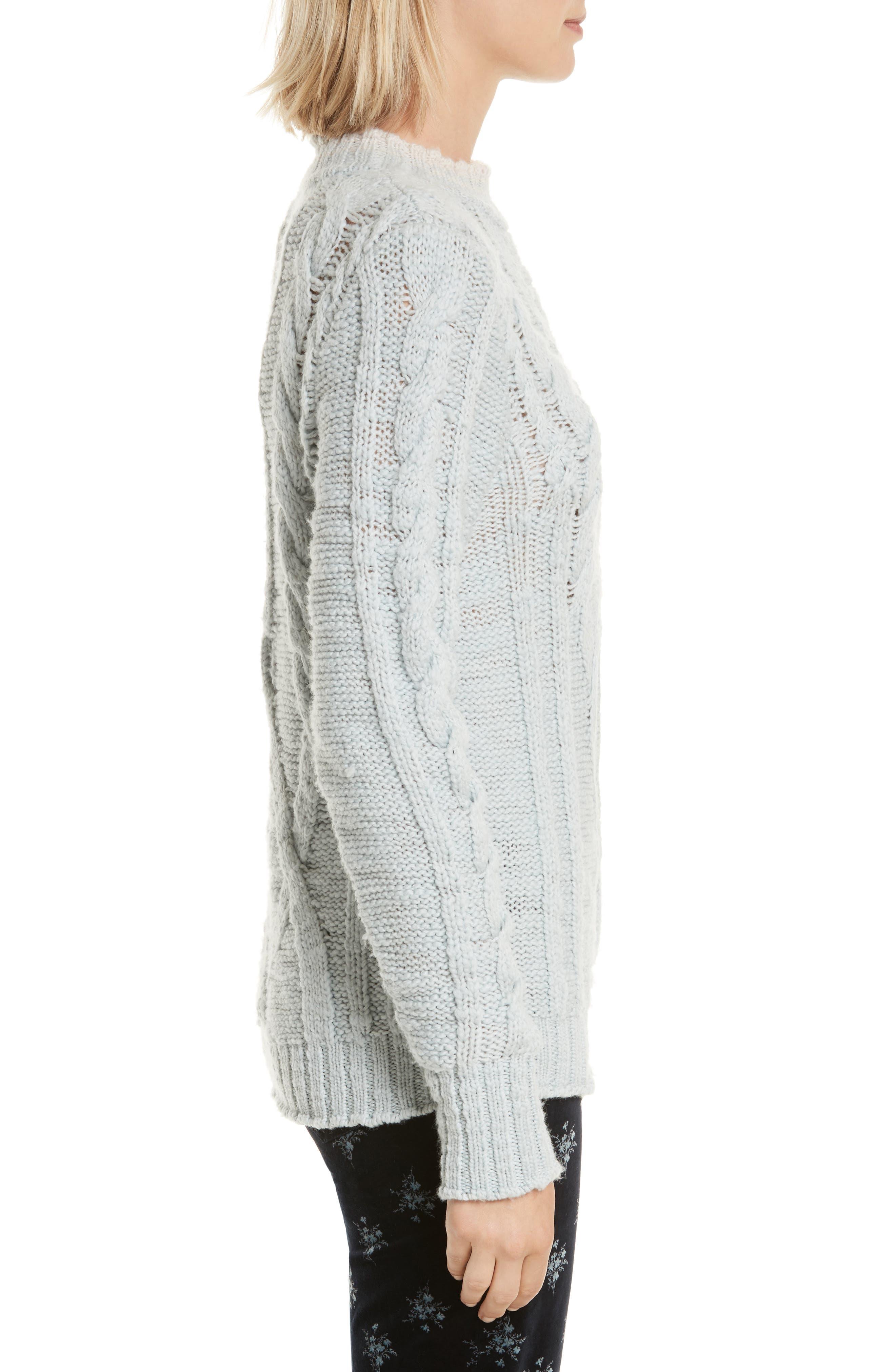 Mock Neck Wool Pullover,                             Alternate thumbnail 3, color,                             424