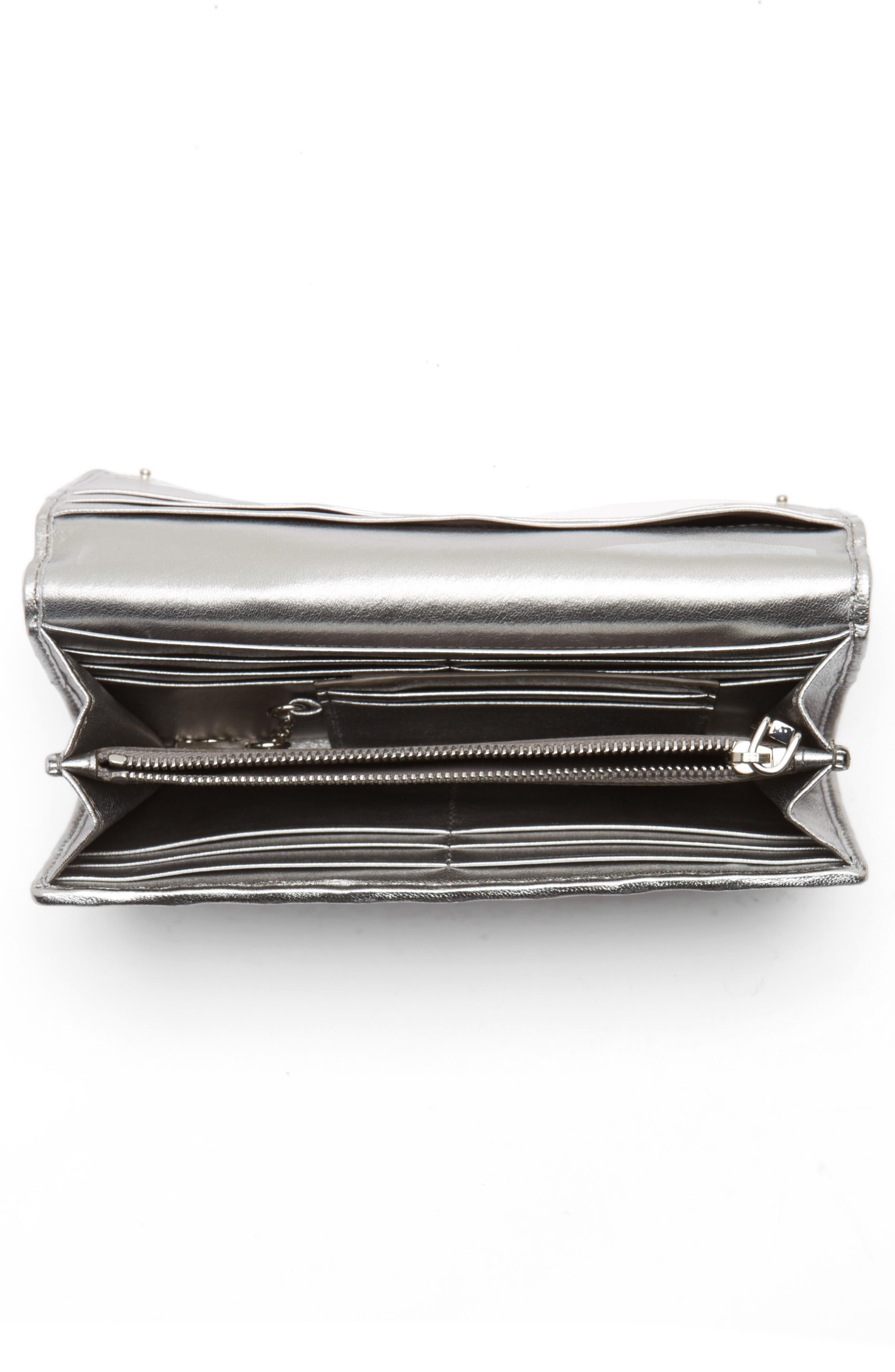 Matelassé Leather Continental Wallet,                             Alternate thumbnail 4, color,                             CHROMO