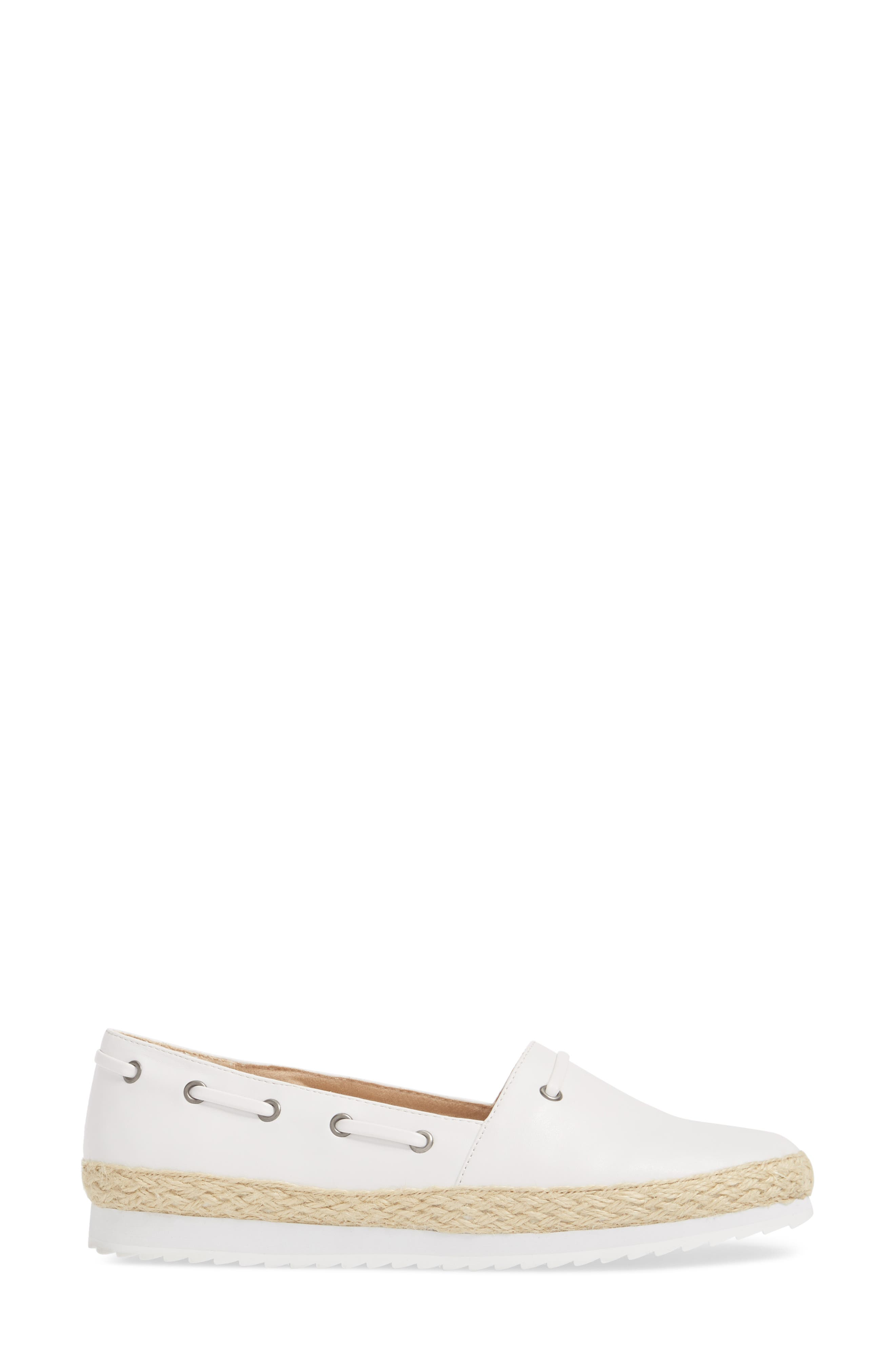 Highlighter Espadrille,                             Alternate thumbnail 3, color,                             WHITE FAUX LEATHER