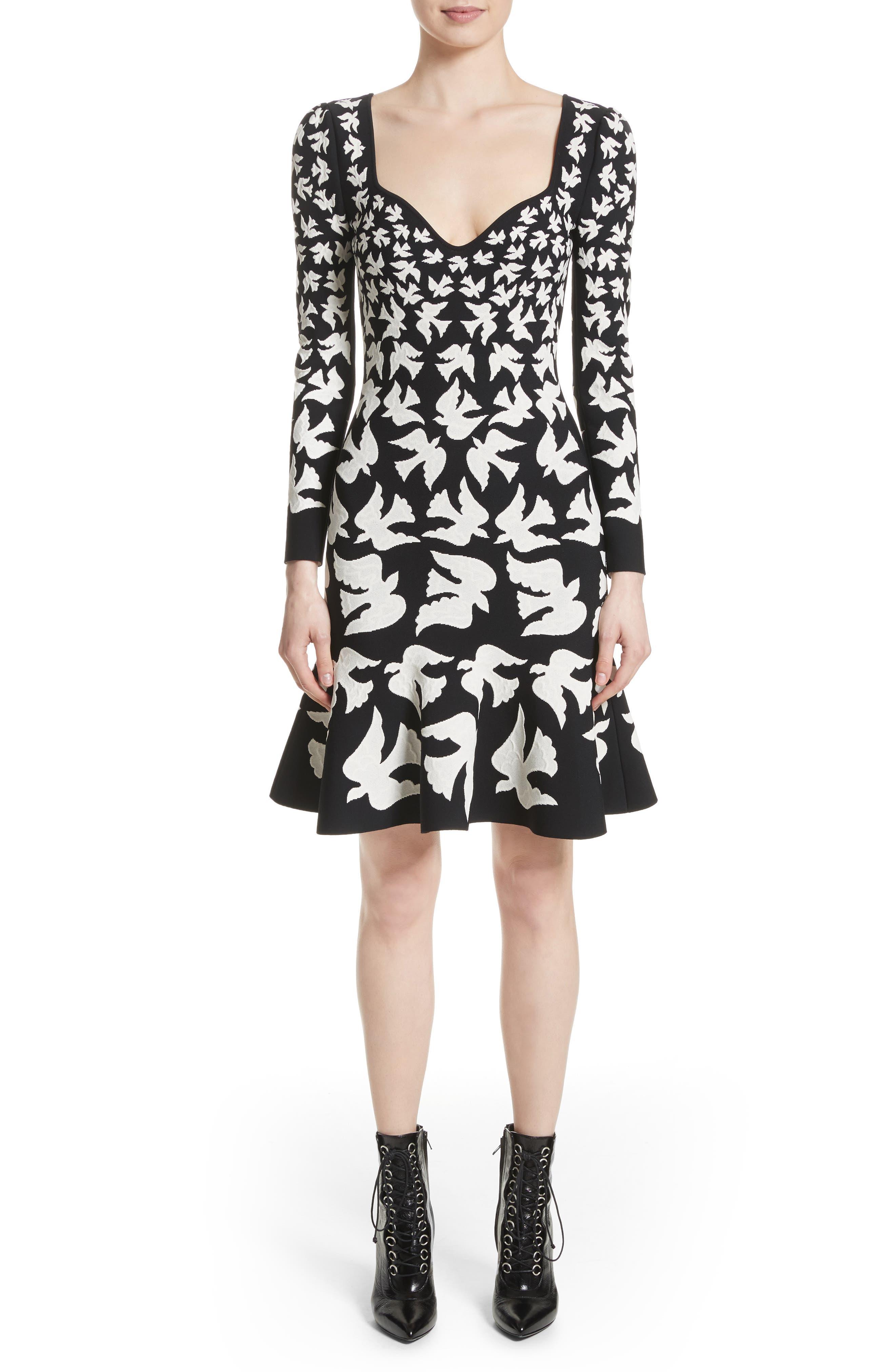 Bicolor Swallow Jacquard Dress,                             Main thumbnail 1, color,                             001