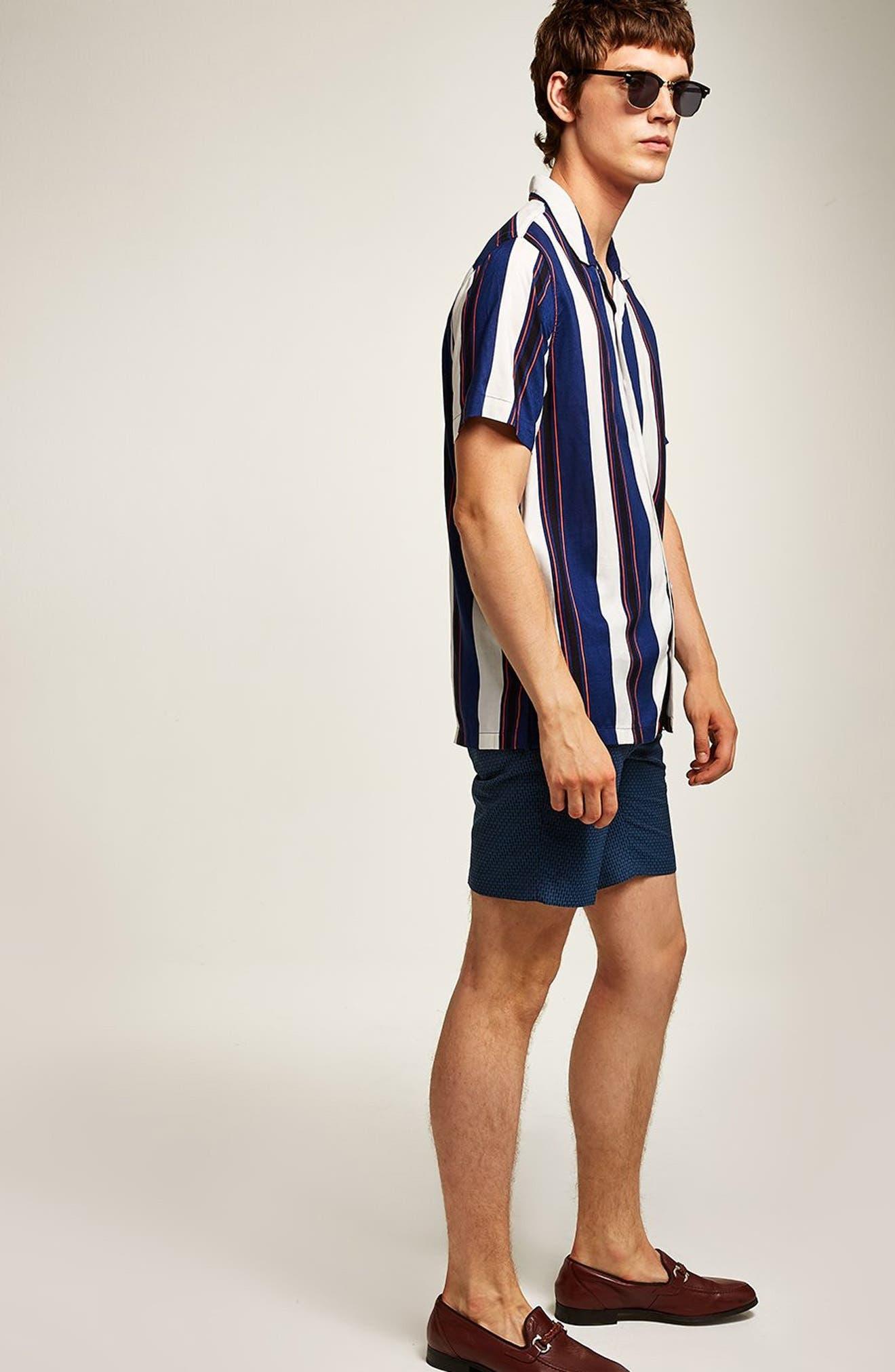 Mini Check Classic Fit Shorts,                             Alternate thumbnail 4, color,                             BLUE