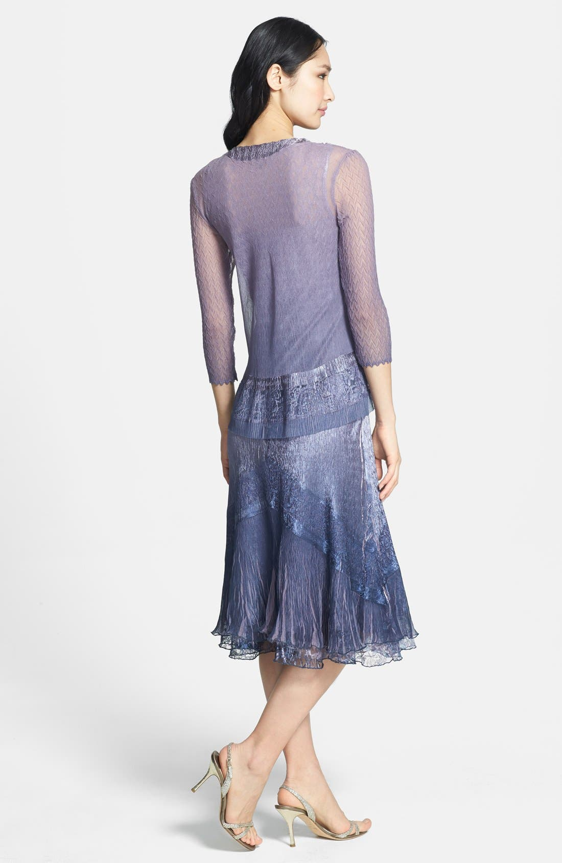 Beaded Neck Charmeuse Dress & Jacket,                             Alternate thumbnail 3, color,                             PURPLE ASH OMBRE