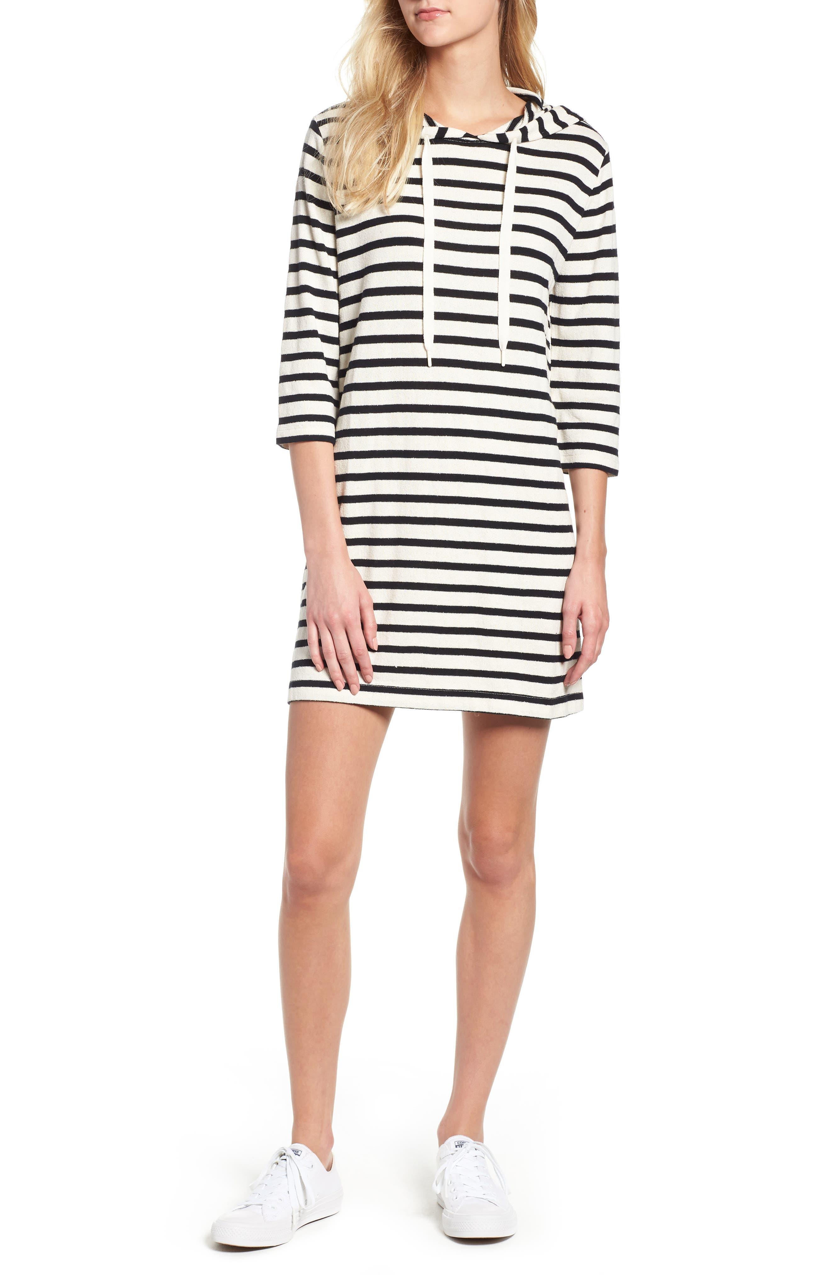 Striped Hoodie Dress,                             Main thumbnail 1, color,                             BLACK/ WHITE