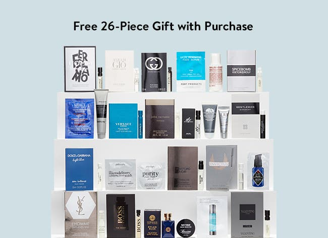 Free 26-piece gift with $85 grooming or cologne purchase.