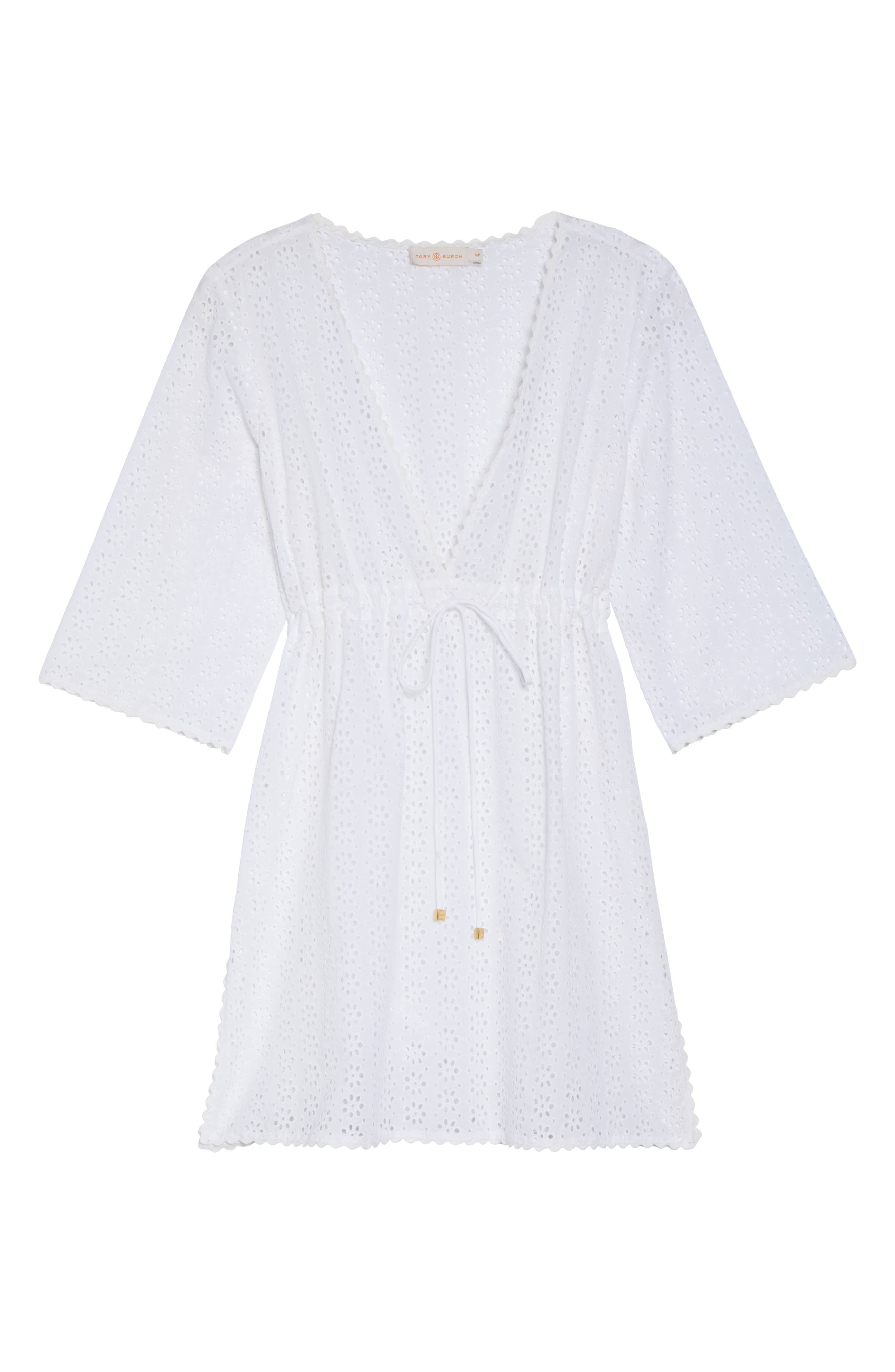 Broderie Anglais Cover-Up Dress,                             Alternate thumbnail 6, color,                             100