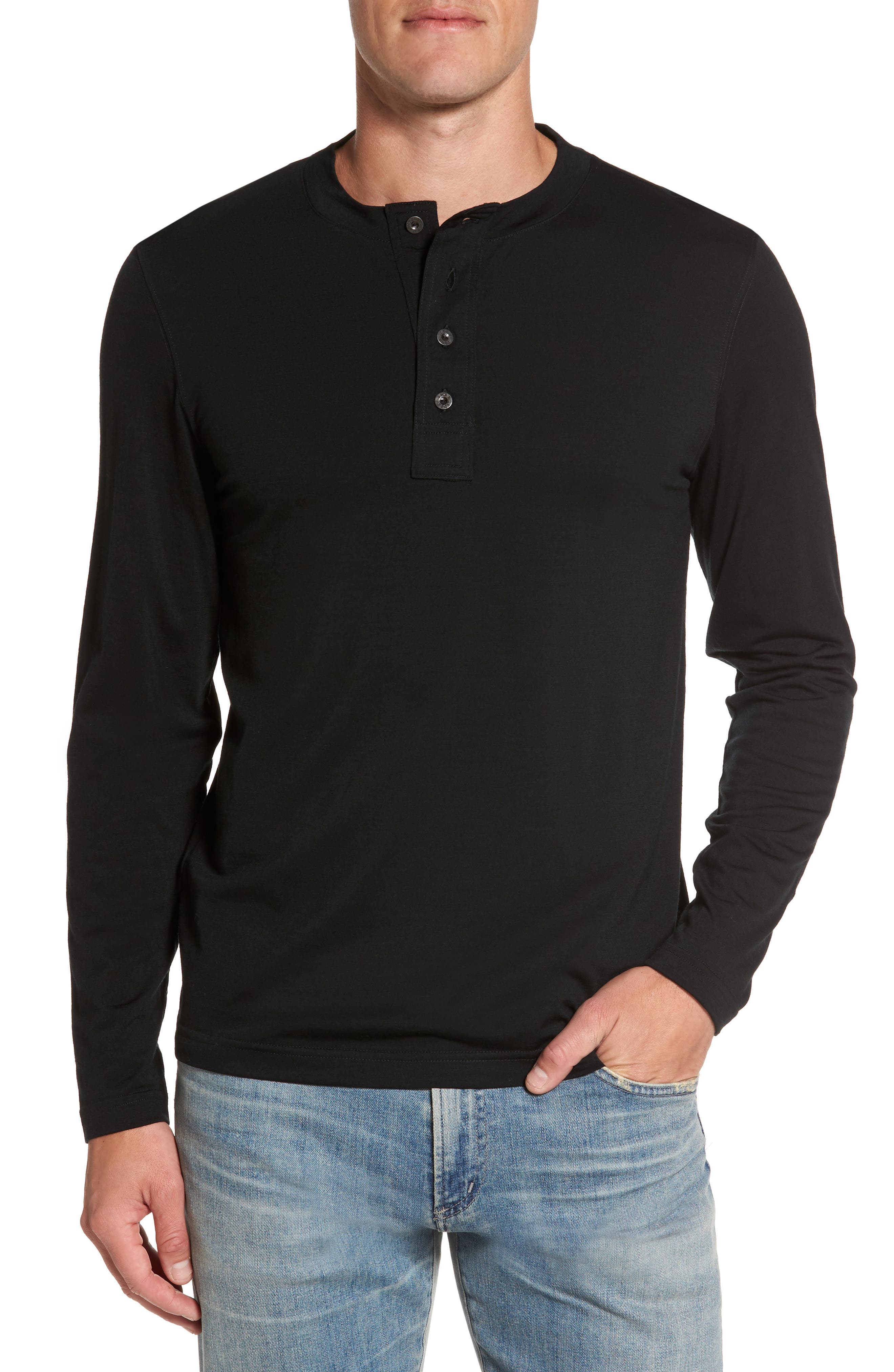Odyssey Merino Wool Blend Henley,                             Main thumbnail 1, color,                             001