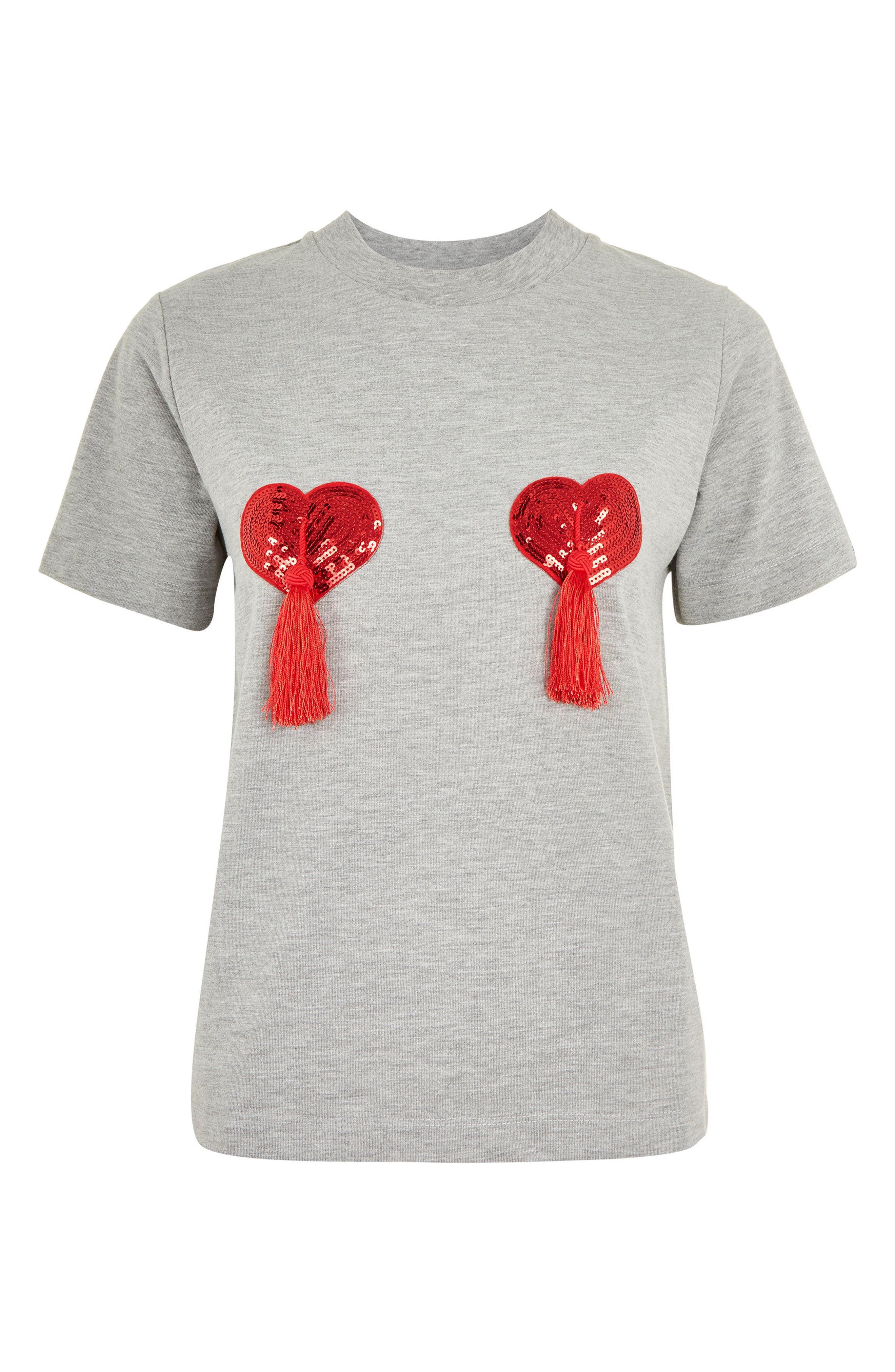 by Tee & Cake Heart Tassel T-Shirt,                             Alternate thumbnail 3, color,                             020