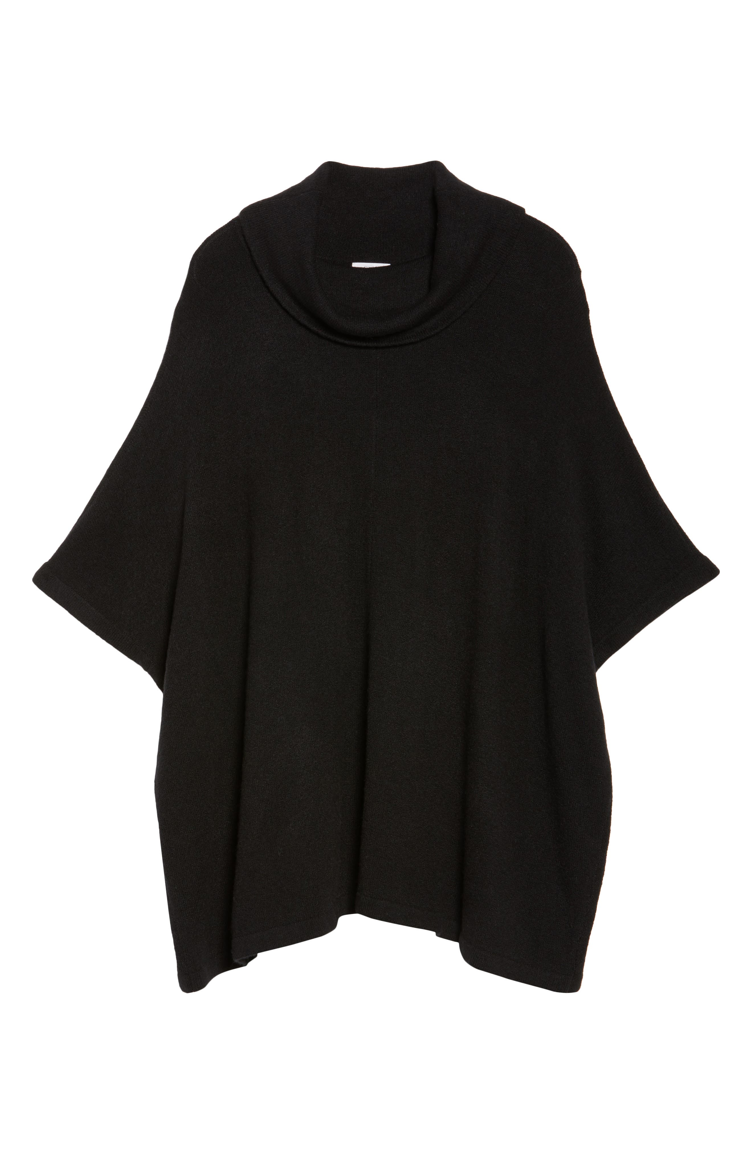 Turtleneck Poncho Sweater,                             Alternate thumbnail 6, color,                             001