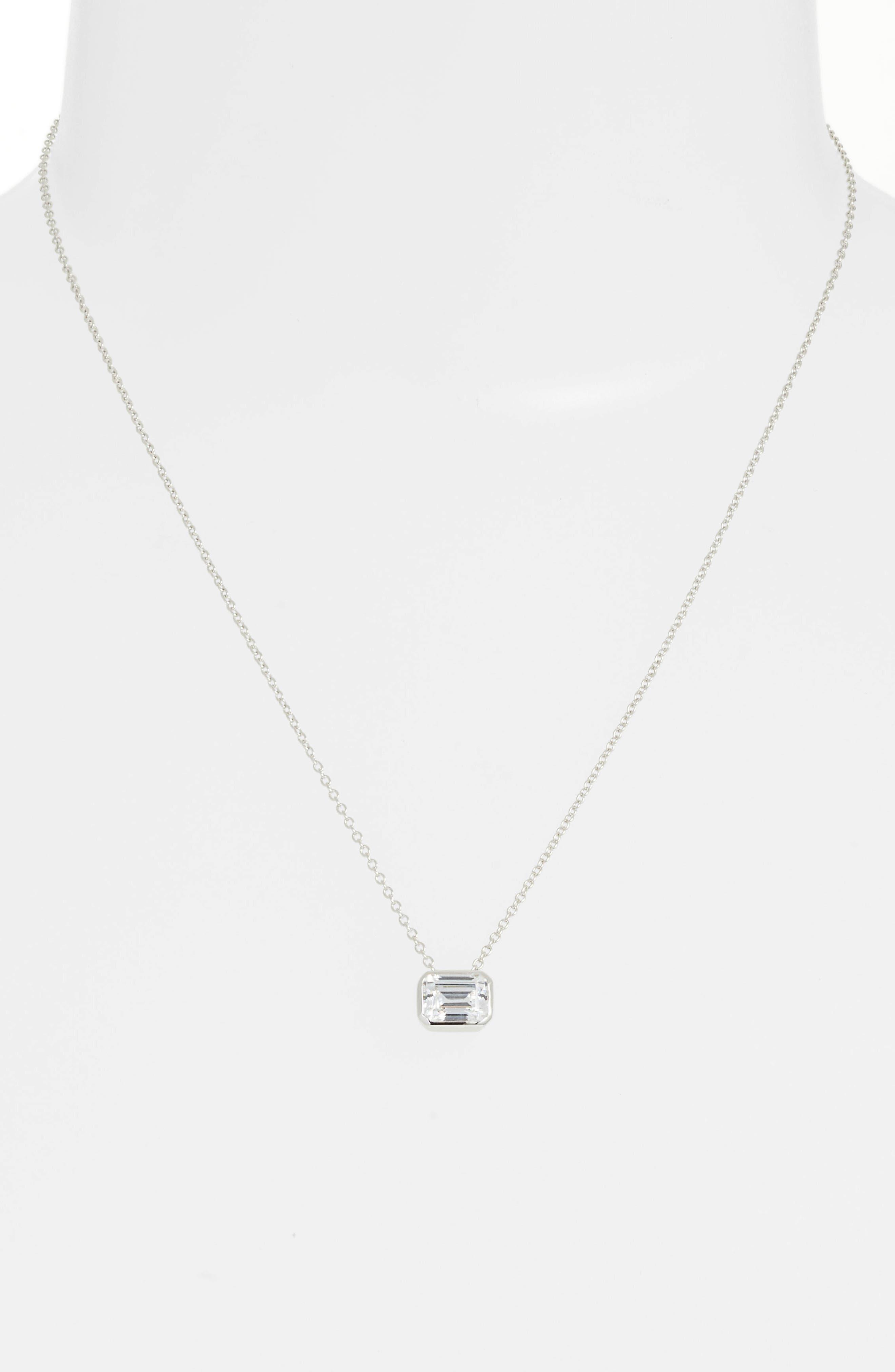 Bezel-Set Emerald-Cut Choker Necklace,                             Alternate thumbnail 2, color,                             SILVER/ CLEAR